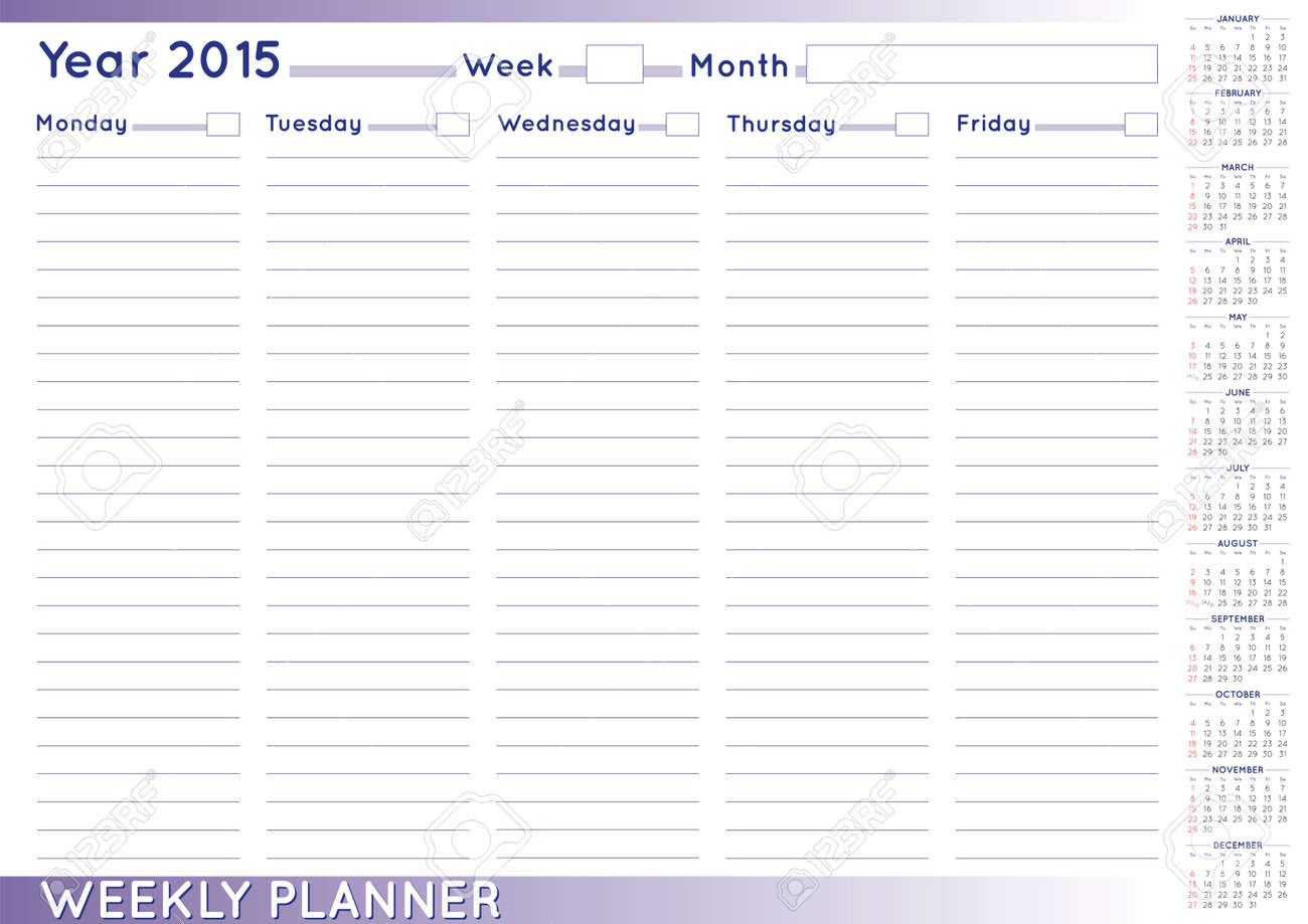 Calendario Con Numero Giorni.2015 Planner Settimanale O Scheduler Con Un Calendario 2015 Size A 3 E Possibile Inserire I Numeri Al Giorno E Alla Settimana E Nomi Dei Mesi A