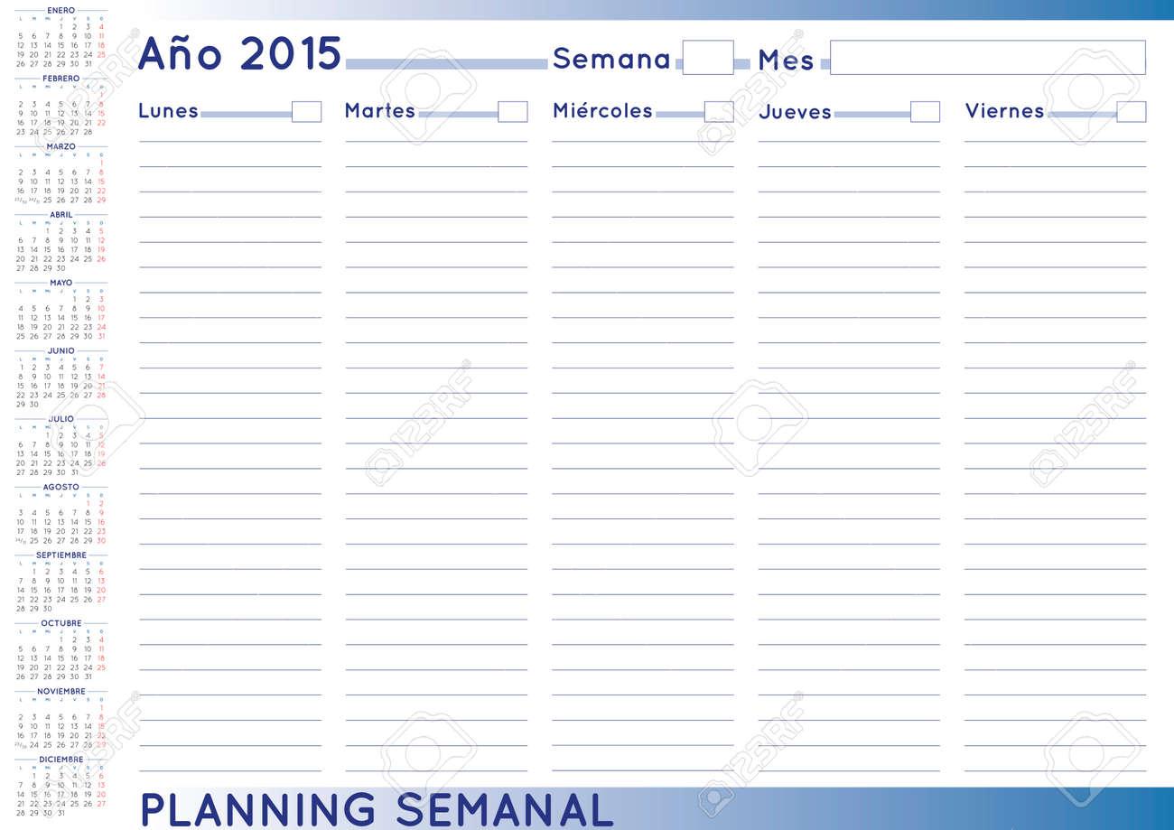 Calendario Semanal.2015 Agenda Semanal Calendario Espanol Para El Ano 2015 La Semana Comienza El Lunes