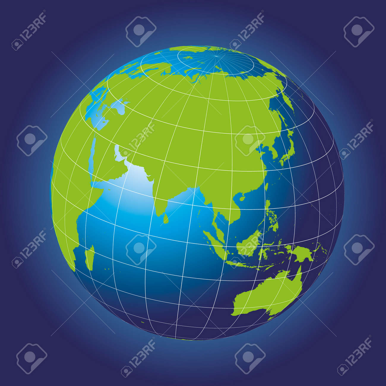 asia map australia russia africa north pole earth globe stock