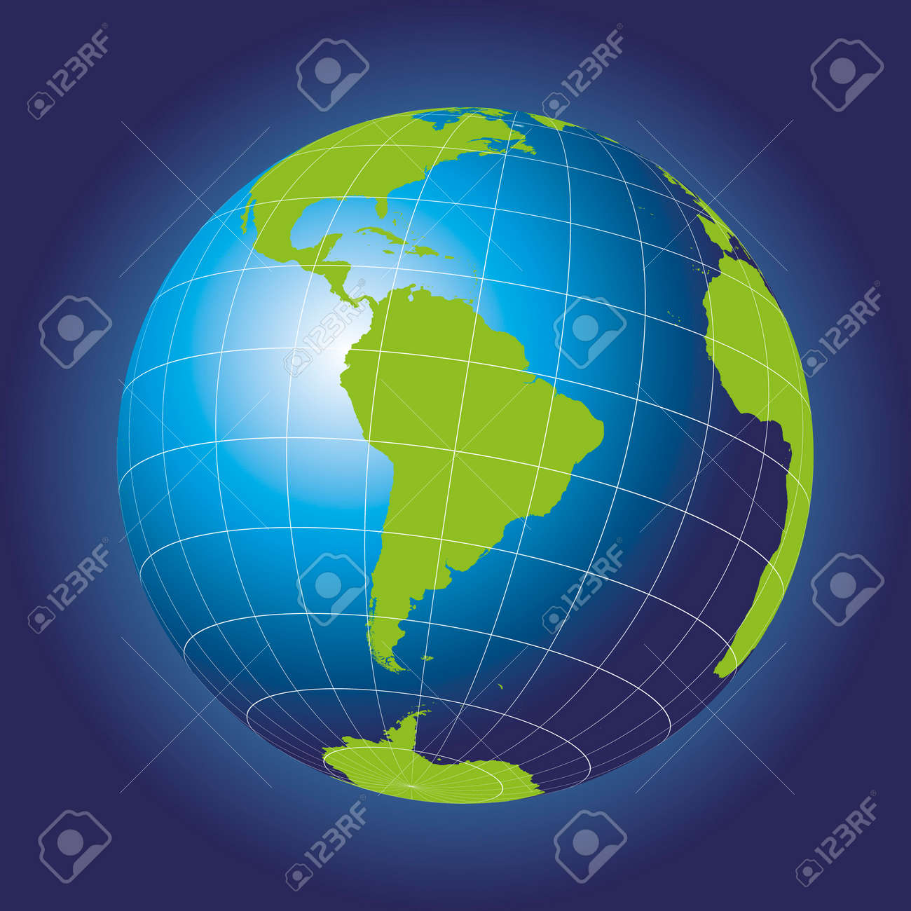 South America Map. Antarctica, North America, Africa. Earth Globe ...