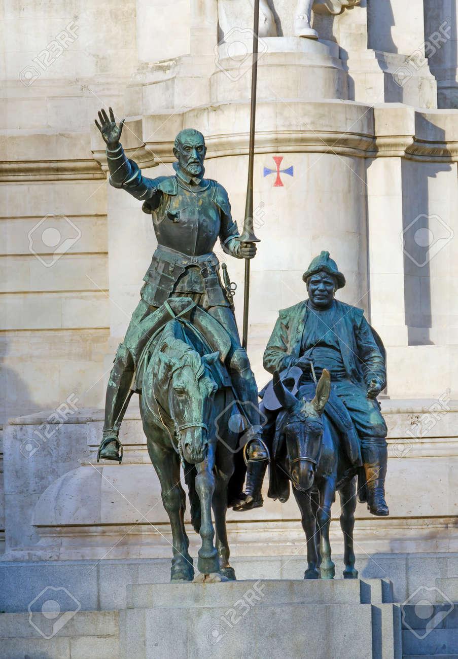 Bronze Statue Of Don Quixote And Sancho Panza In Plaza De Espana ...