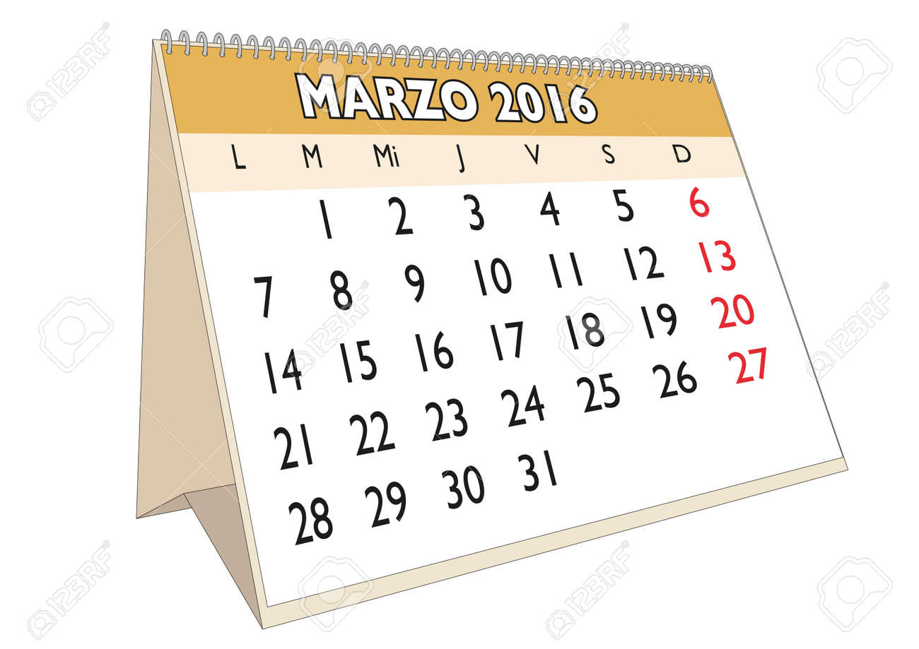 March Month In A Year 2016 Calendar In Spanish Marzo  Stock