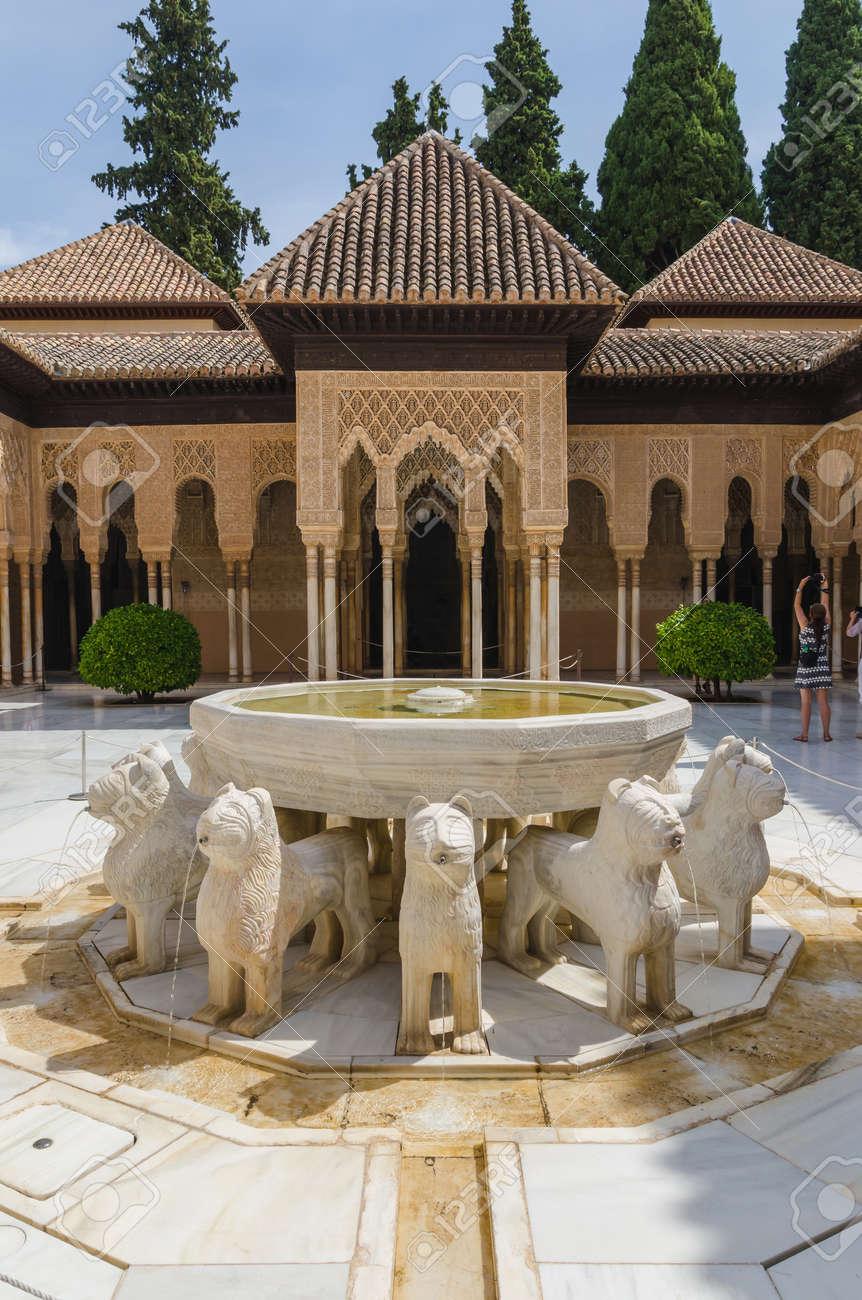 Patio De Los Leones Court Of Lions Alhambra De Granada Unesco
