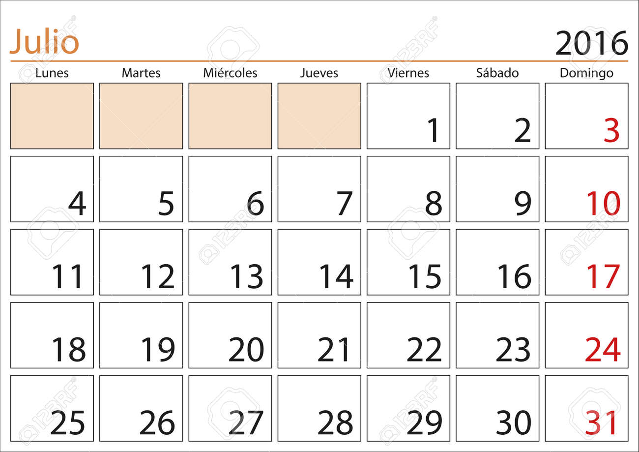 Calendario Mes De Julio.Mes De Julio En Un Ano Calendario 2016 En Espanol Julio 2016 Calendario 2016