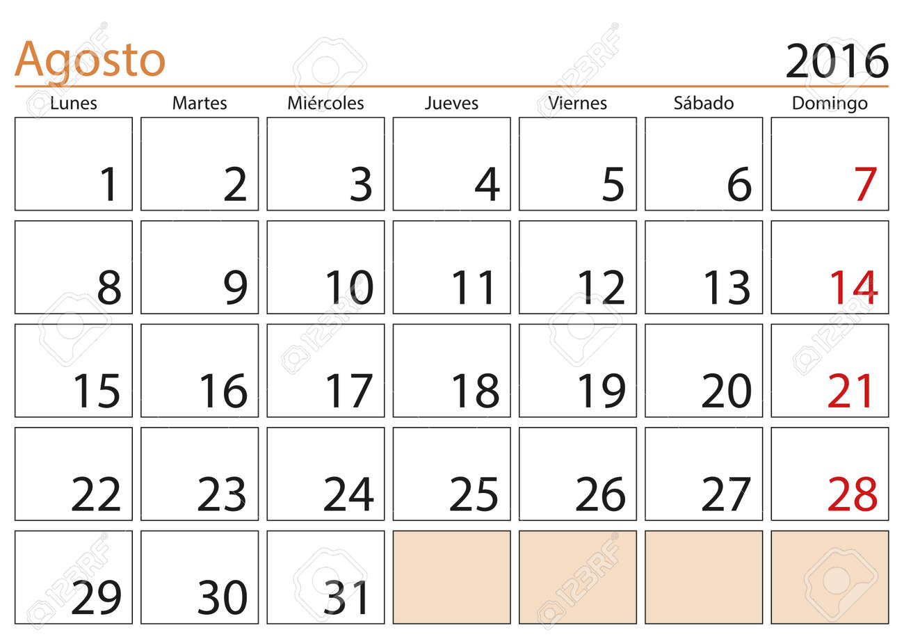 Calendario 2016.August Month In A Year 2016 Calendar In Spanish Agosto 2016