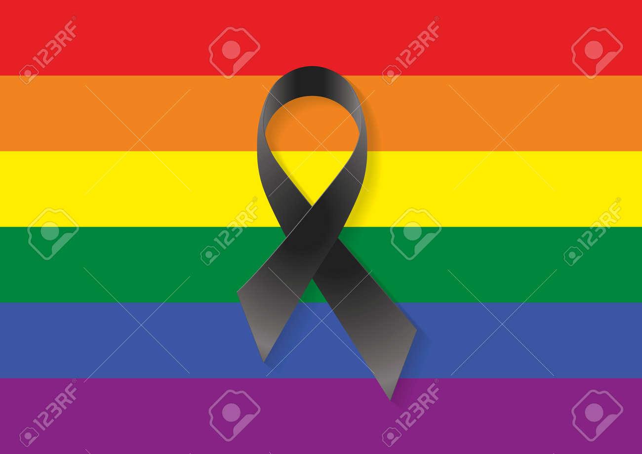 Bandera gay y lesbiana con una cinta negro para conmemorar y llorar a los muertos foto