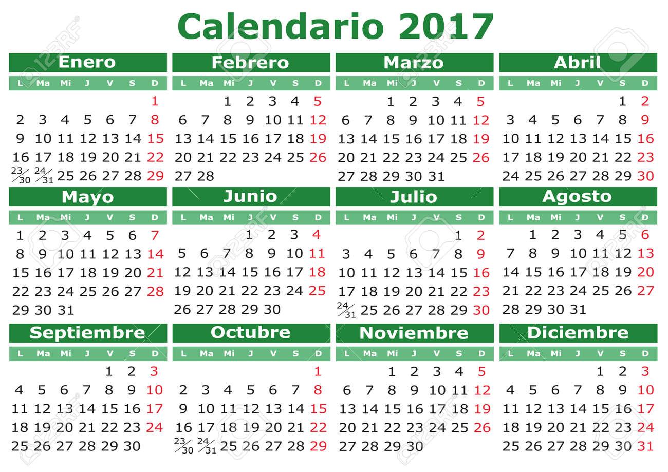 2017 vector calendario en español fácil de editar y aplicar