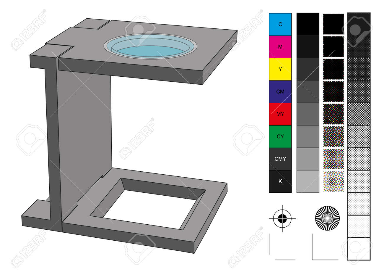 Loupe Used In Prepress For Print Production CMYK Color Management Elements As Swatches Screen