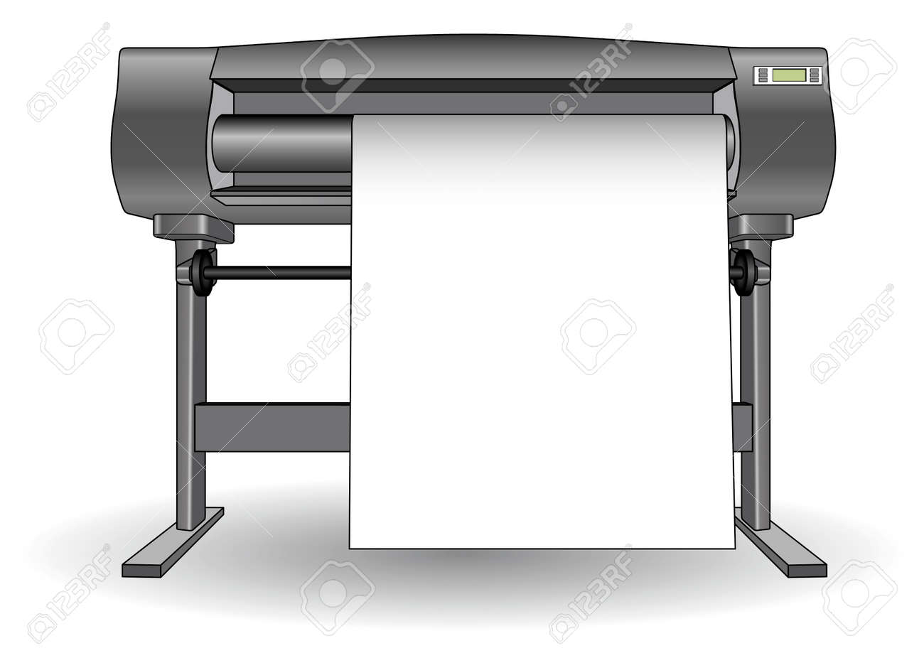 Plotter used in computer aided design (cad) and graphic arts. Inkjet printer with a large format. Ploter - 50595298