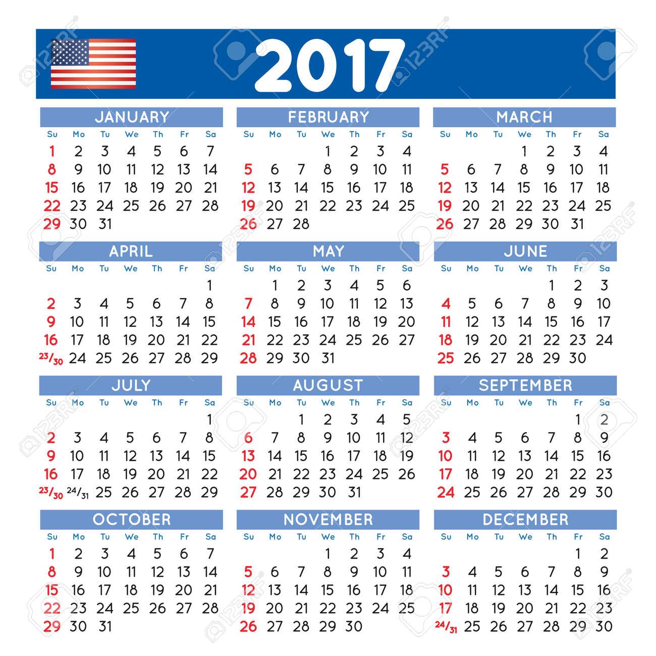 2017 Elegant Squared Calendar. Year 2017 Calendar. Calendar 2017 ...