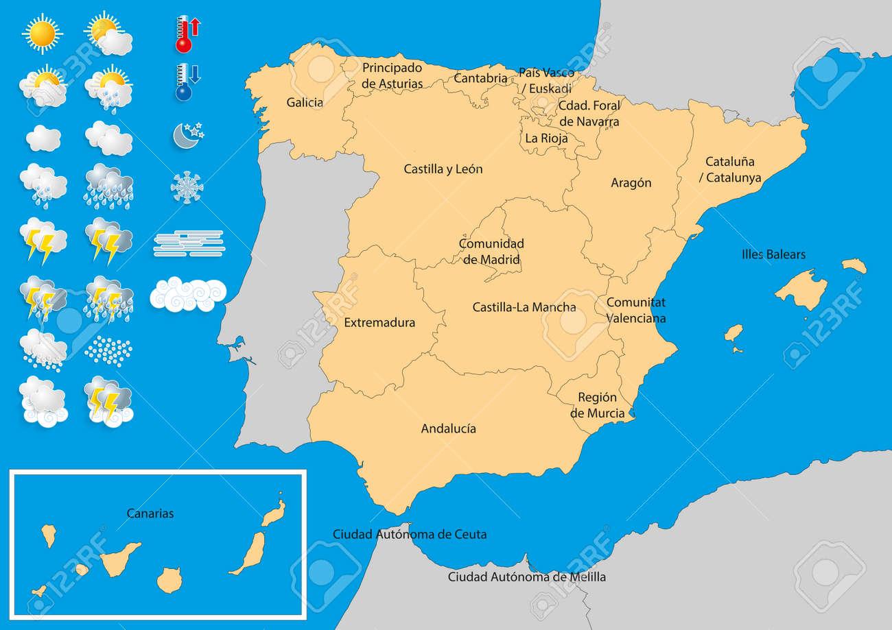 Carte Espagne Meteo.Carte De L Espagne Avec Des Icones Meteo Kit Meteo A Publier Des Previsions Meteorologiques Et Les Previsions Les Elements De Cette Image Fournie