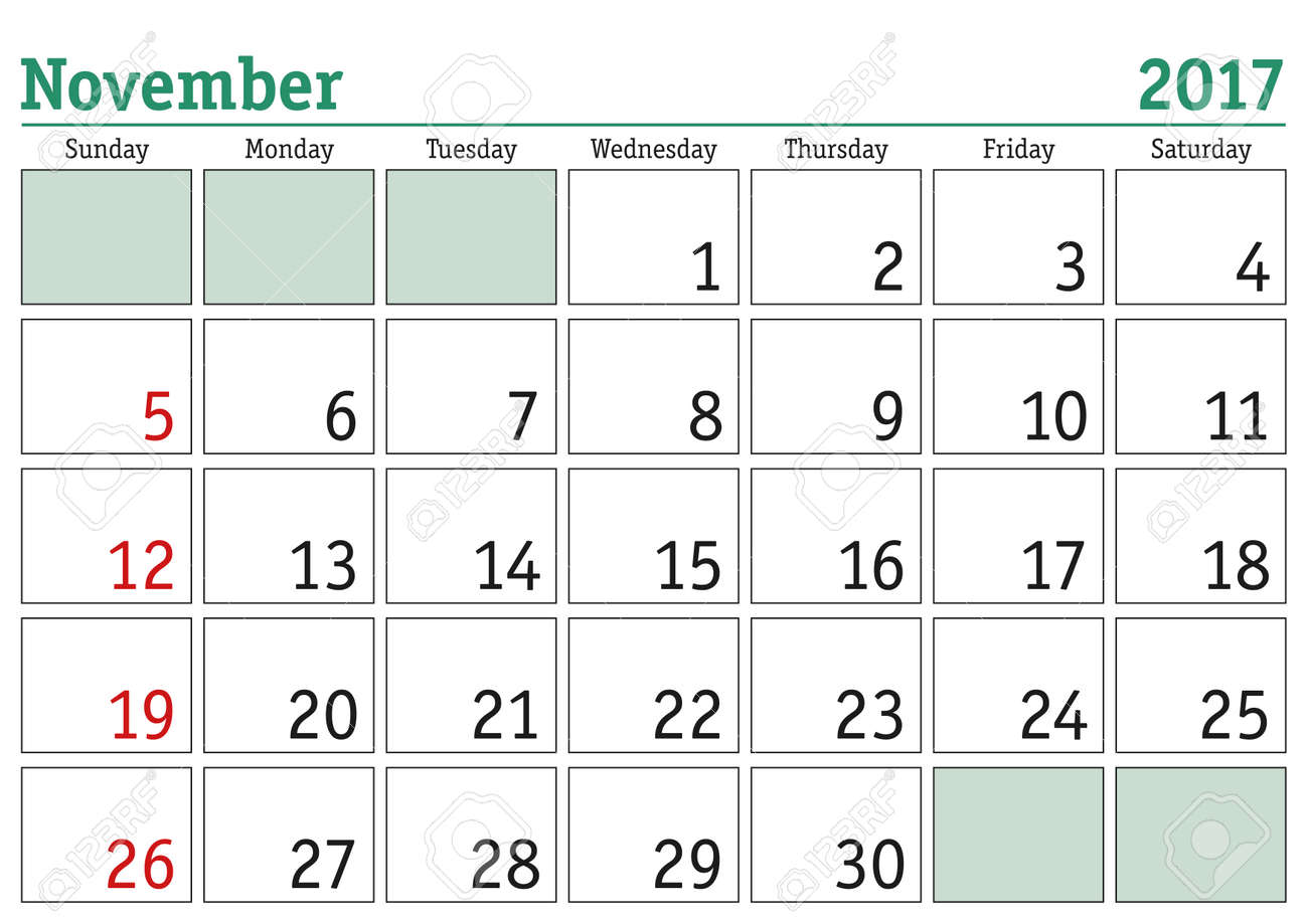 graphic regarding November Printable Calendar named Basic electronic calendar for November 2017. Vector printable calendar