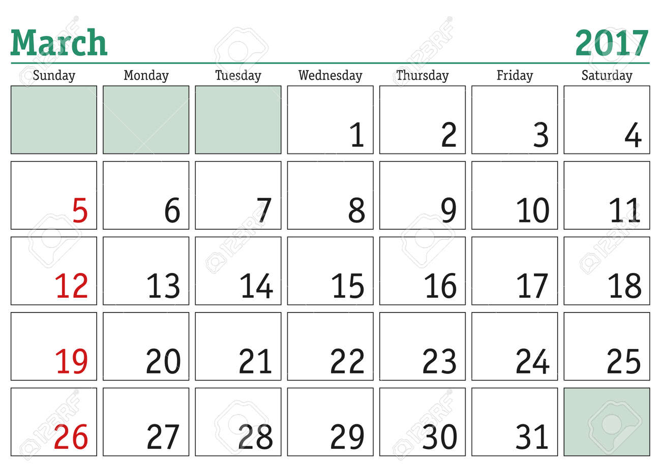 Calendar Monthly March : Simple digital calendar for march vector printable calendar