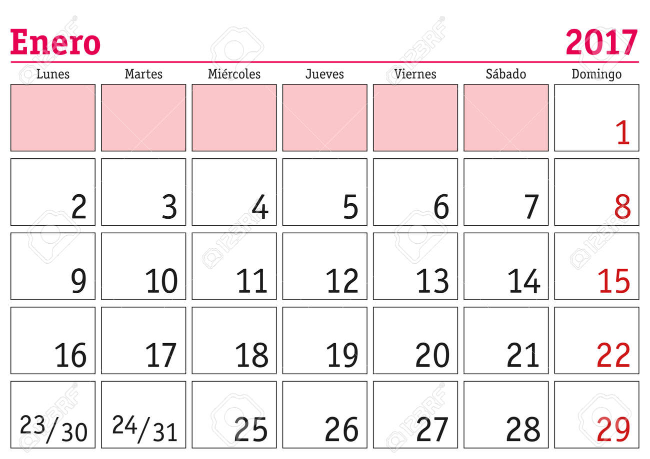 January Month In A Year 2017 Wall Calendar In Spanish. Enero ...