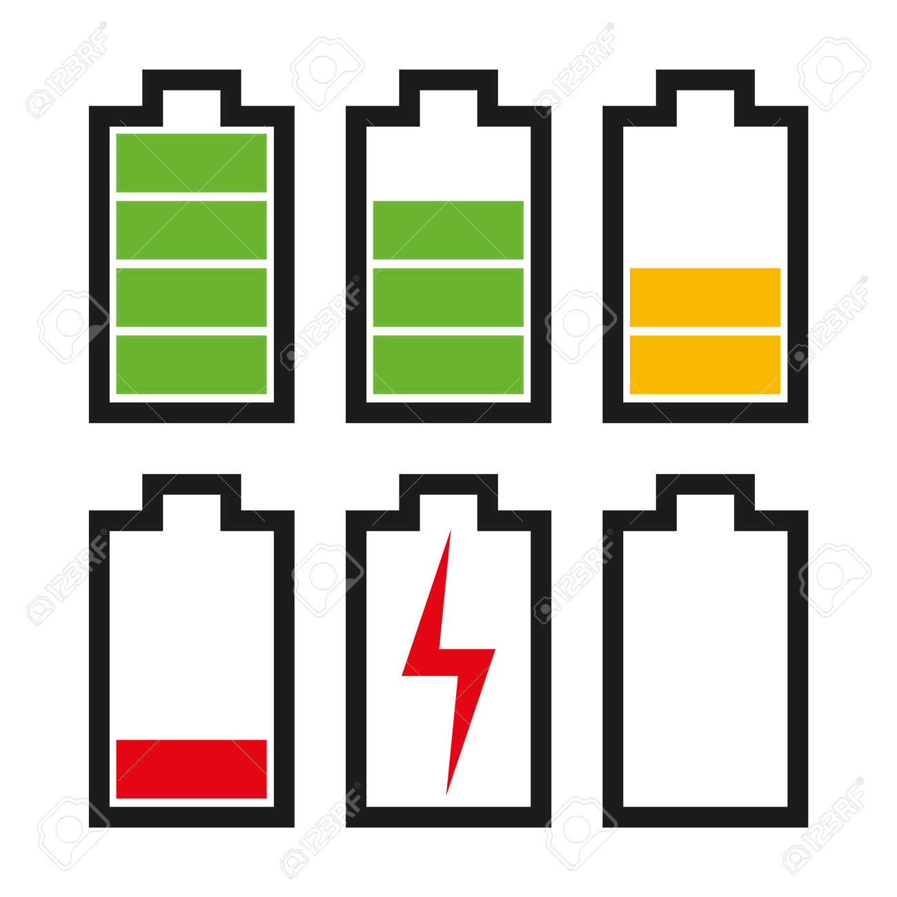 Icons sowing different charge status in an electric battery. Full charge, medium charge, low charge, empty, out of battery. - 53860646