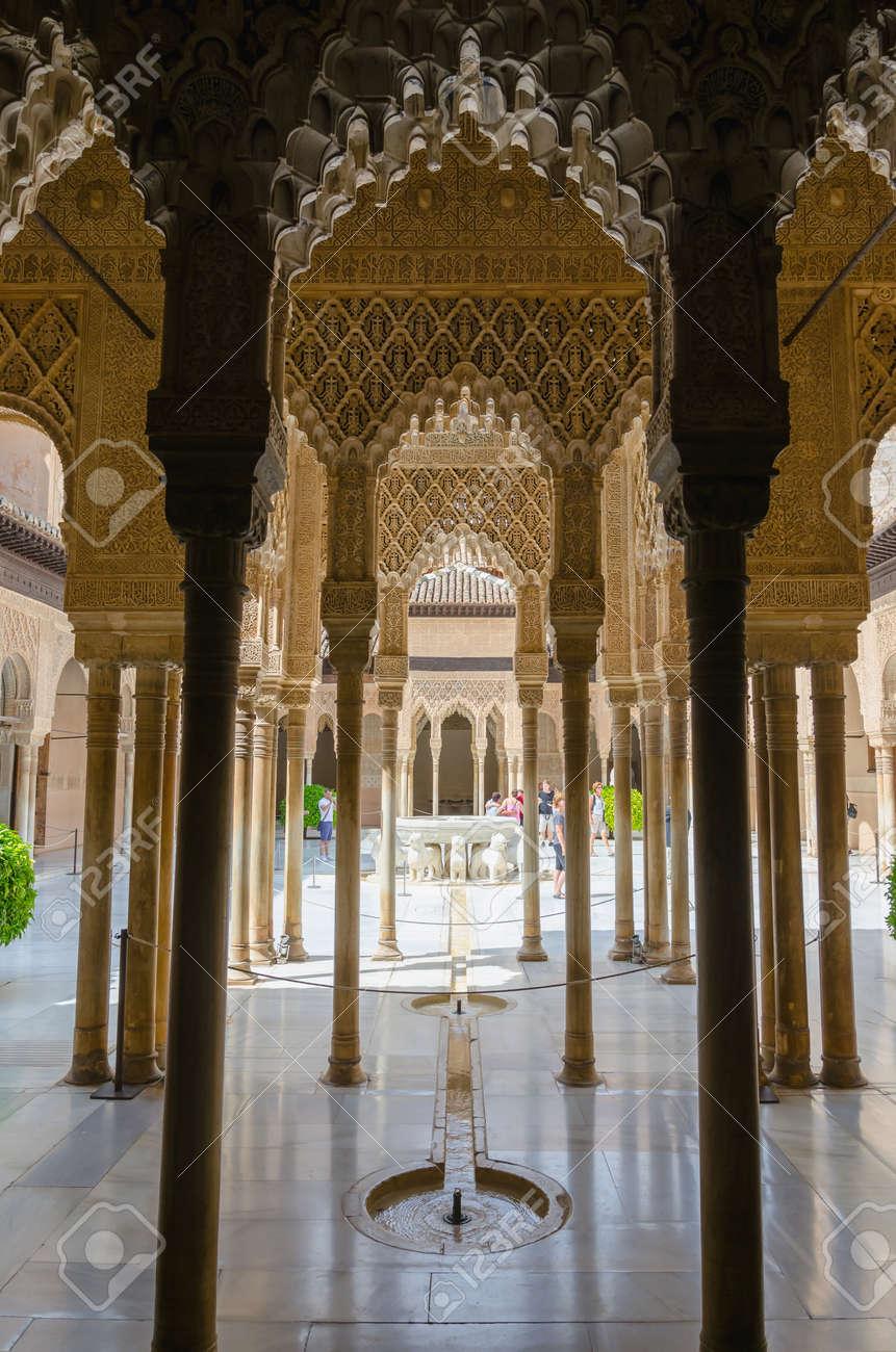 Granada Spain September 9 Arabesque Style Columns And Decoration