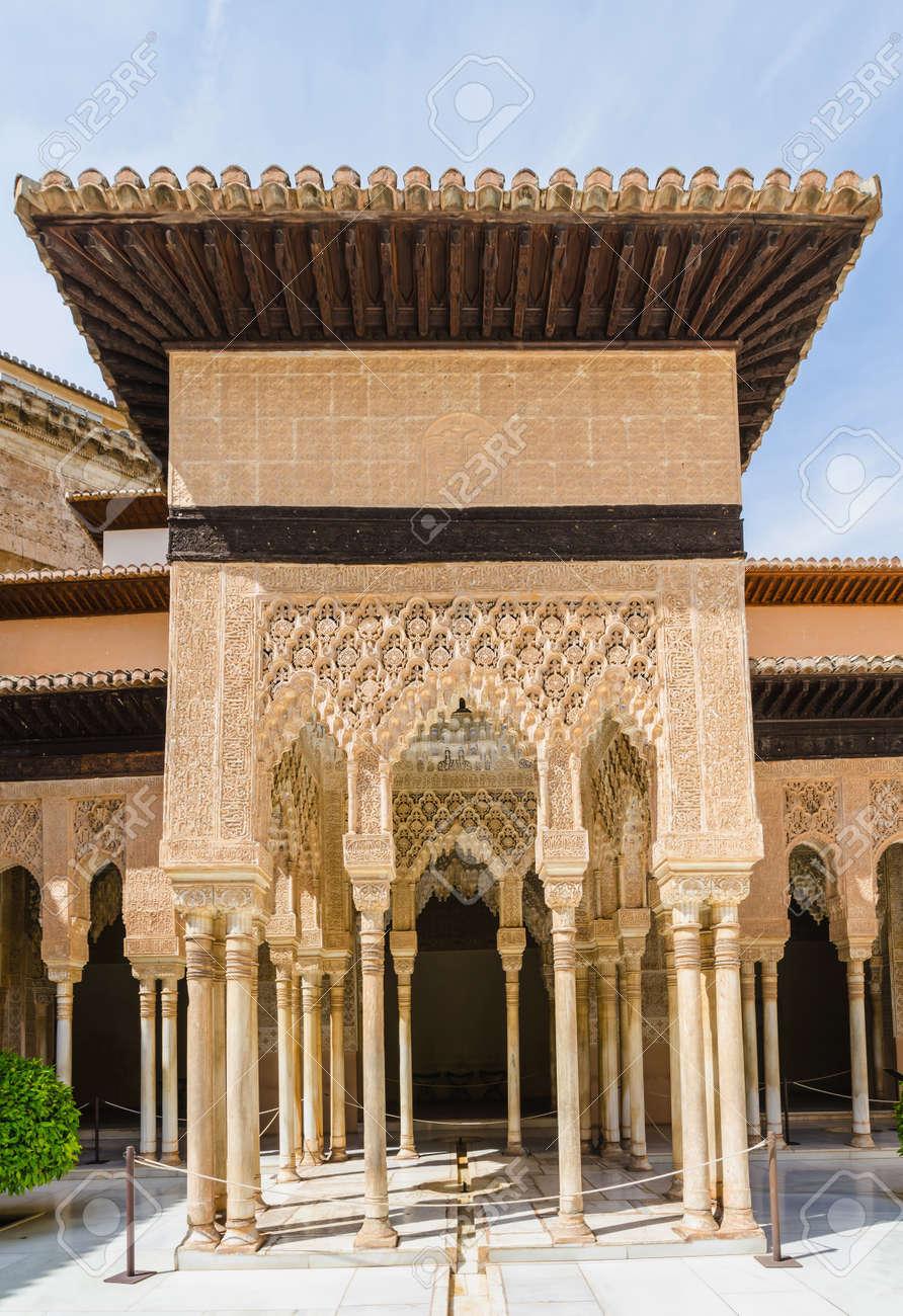 Arabesque Decoration And Columns In Patio De Los Leones Alhambra