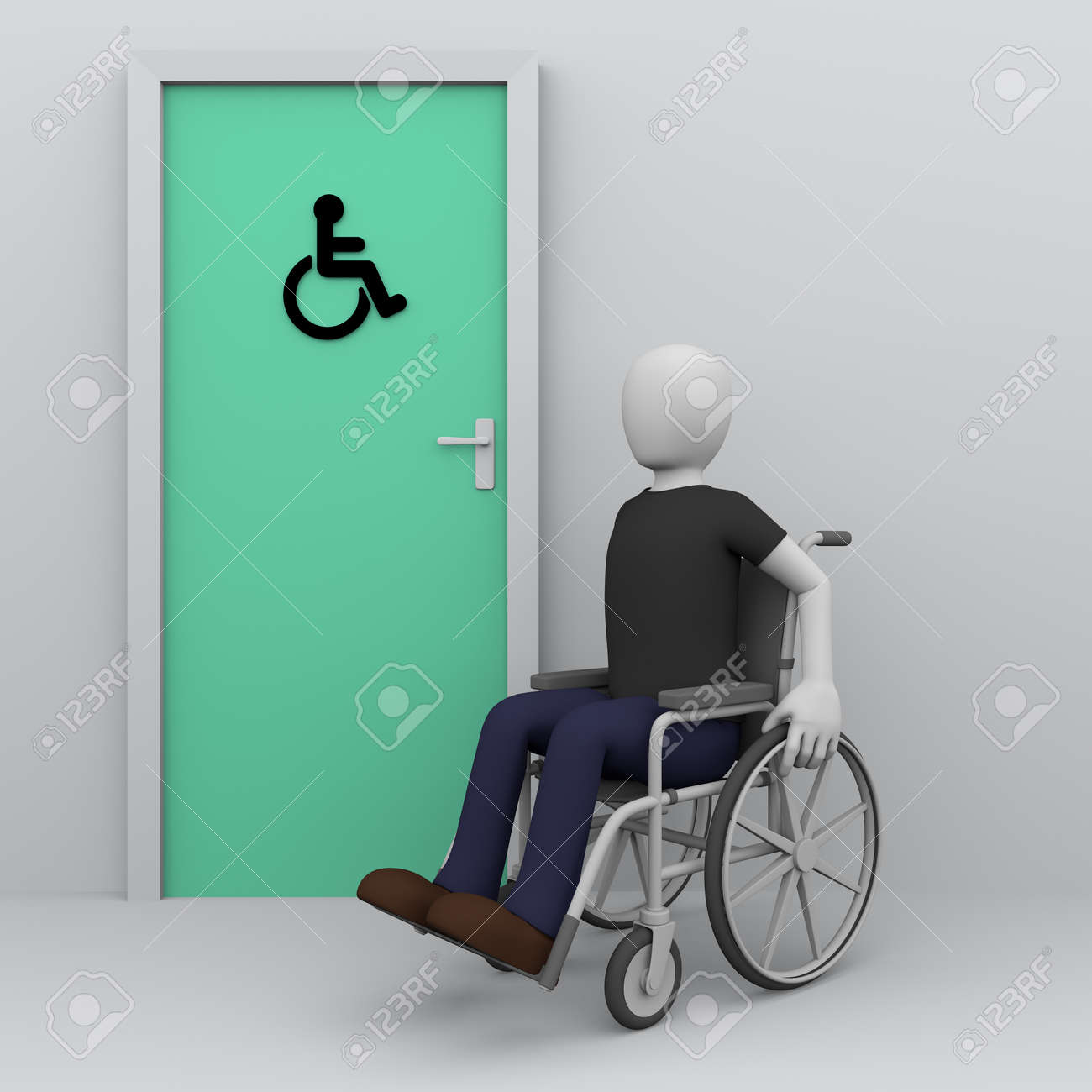 Wheelchair Man Awaiting In The Door Of Toilet For Handicapped ...