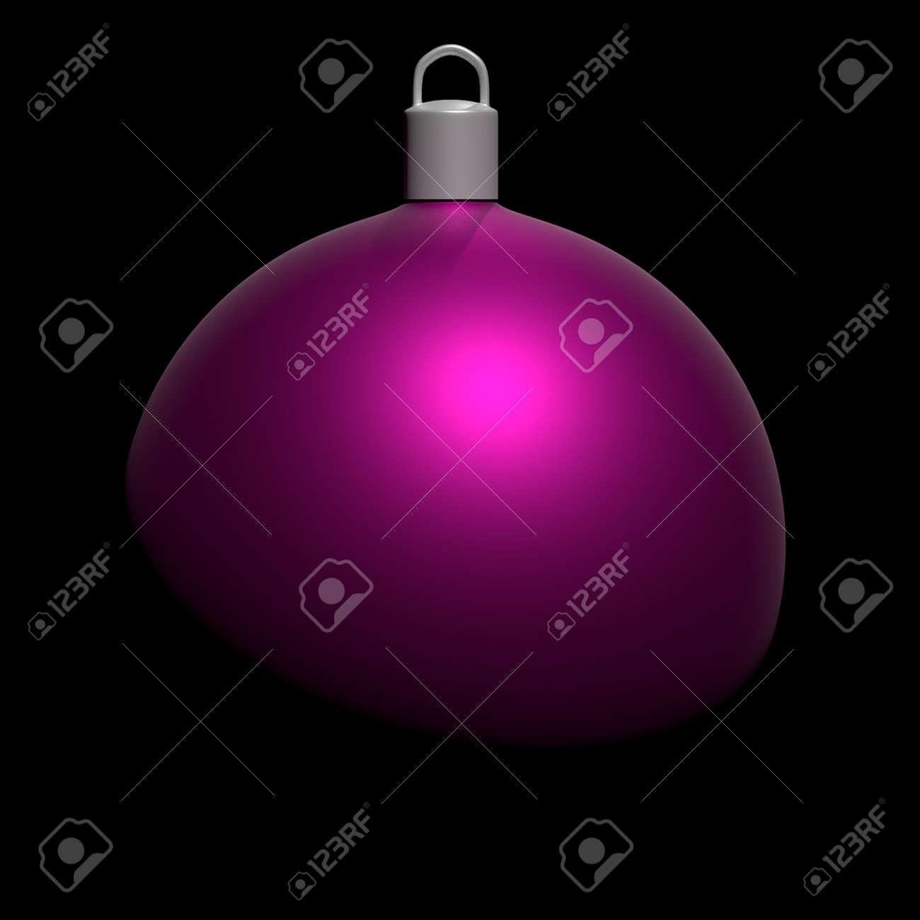 Boule De Noël Violette Sur Fond Noir. 3d Render, 3d Illustration ...