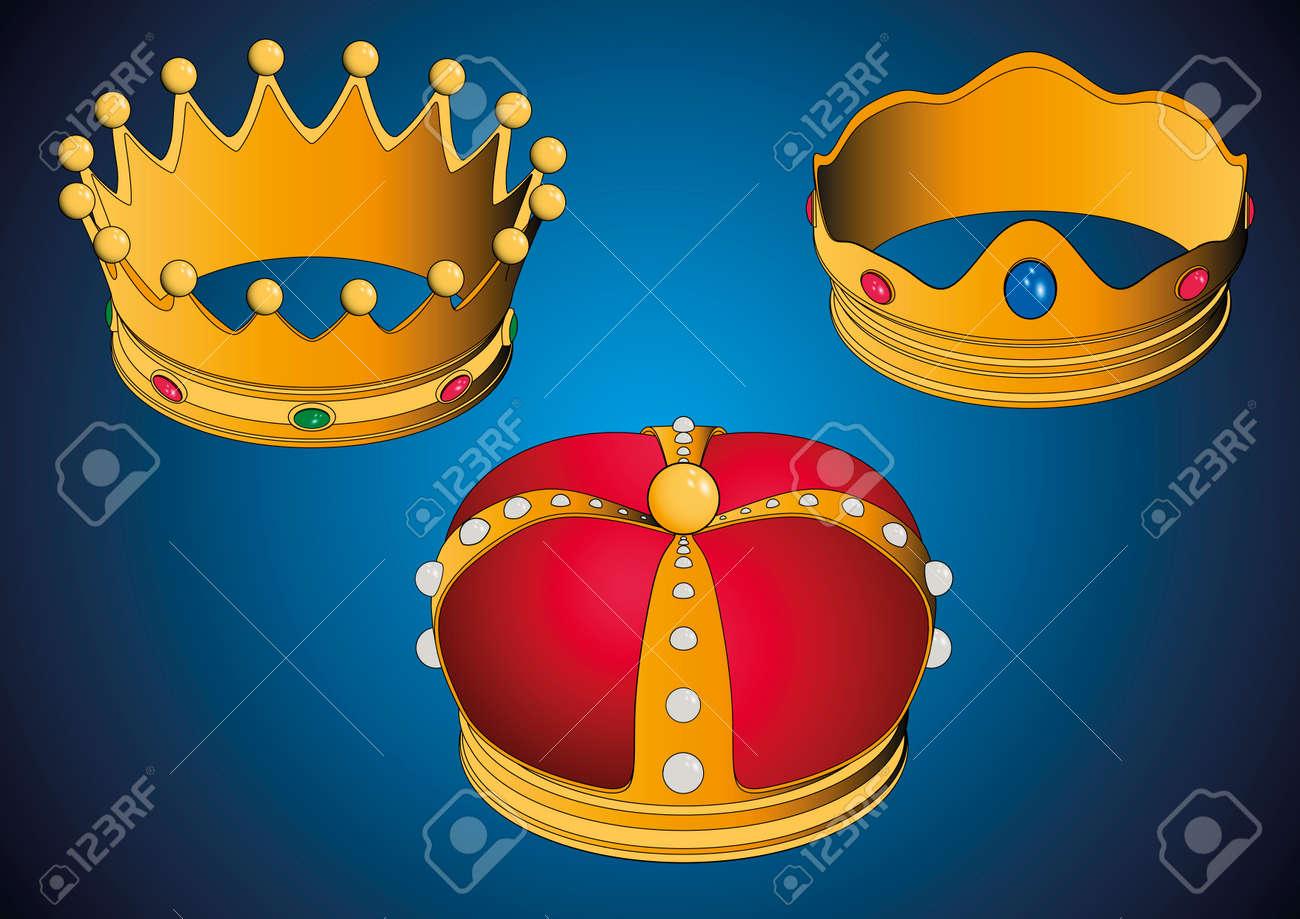 Las tres coronas de los Reyes Magos, Three wise men crowns. Vector illustration. Spanish typical celebration - 69350720