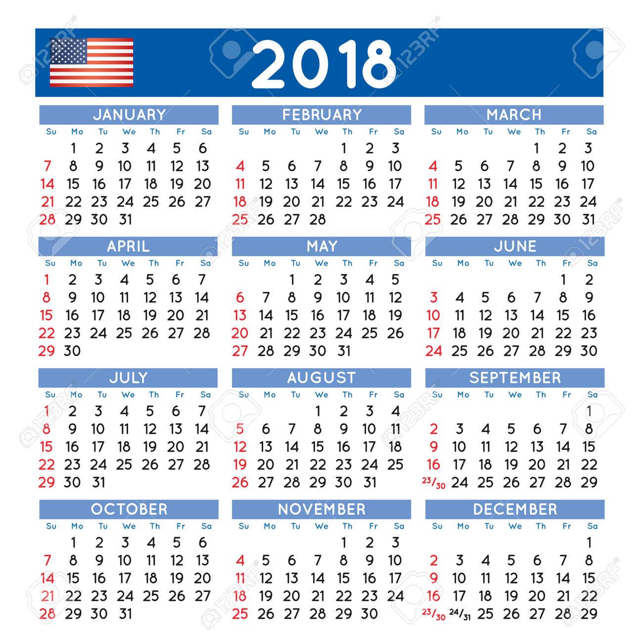 2018 calendar year decorative new year 2018 calendar vector free