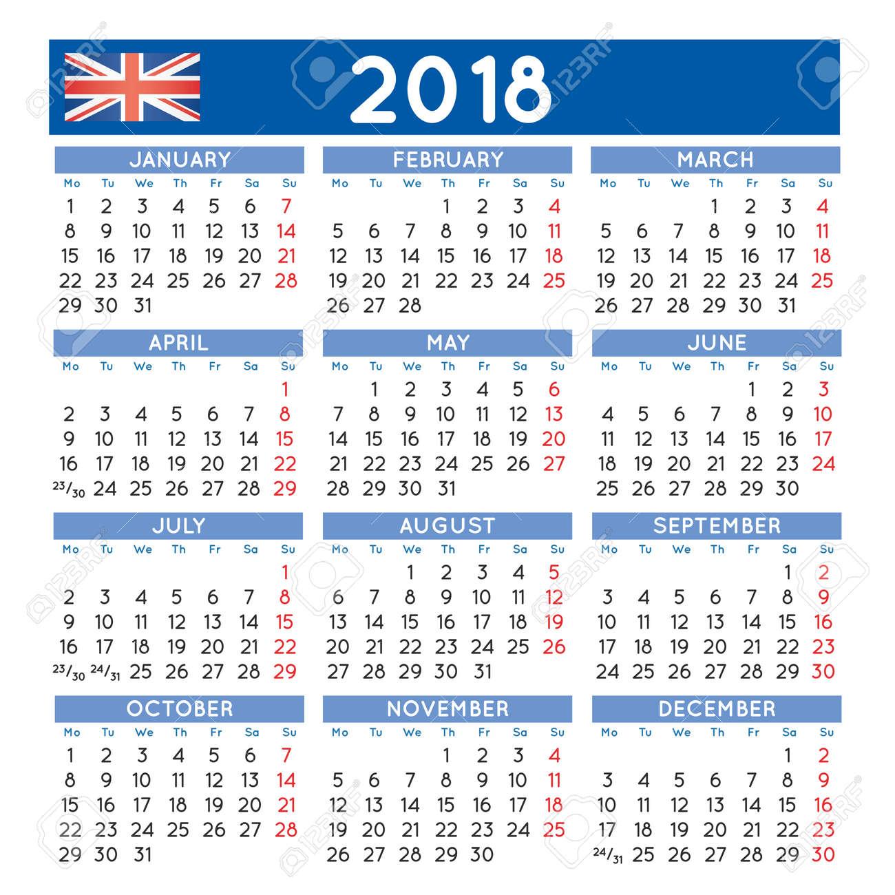 monday start calendar 2018