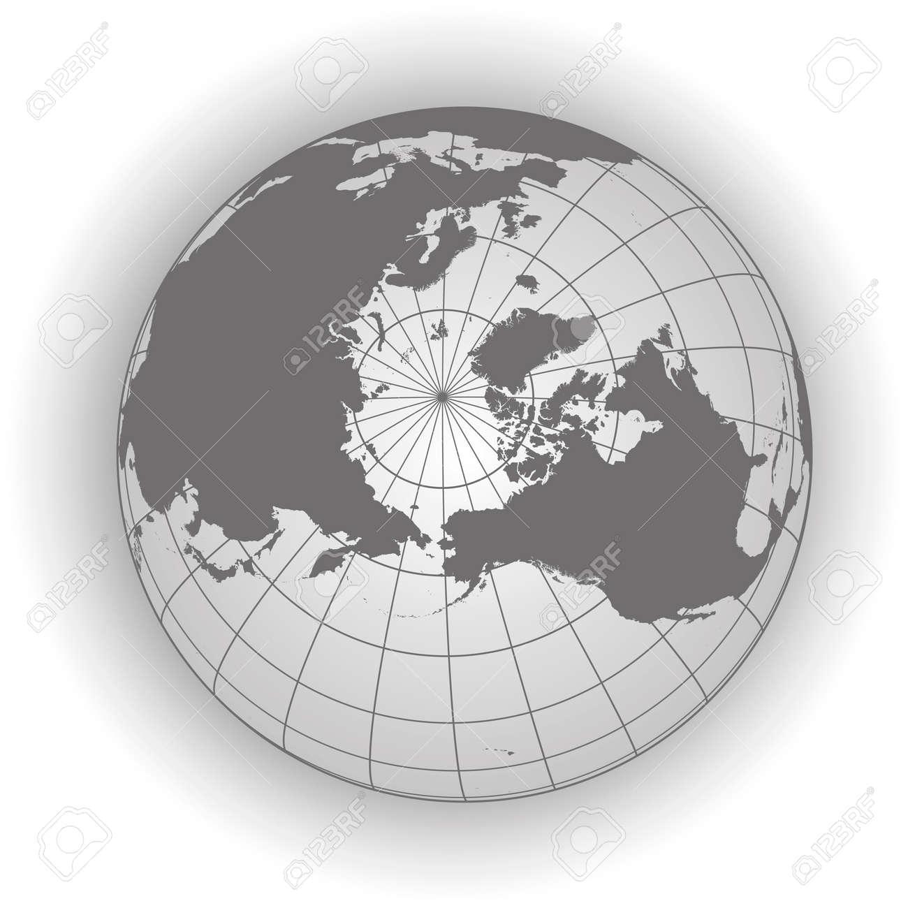 North Pole Map Europe Greenland Asia America Russia Earth