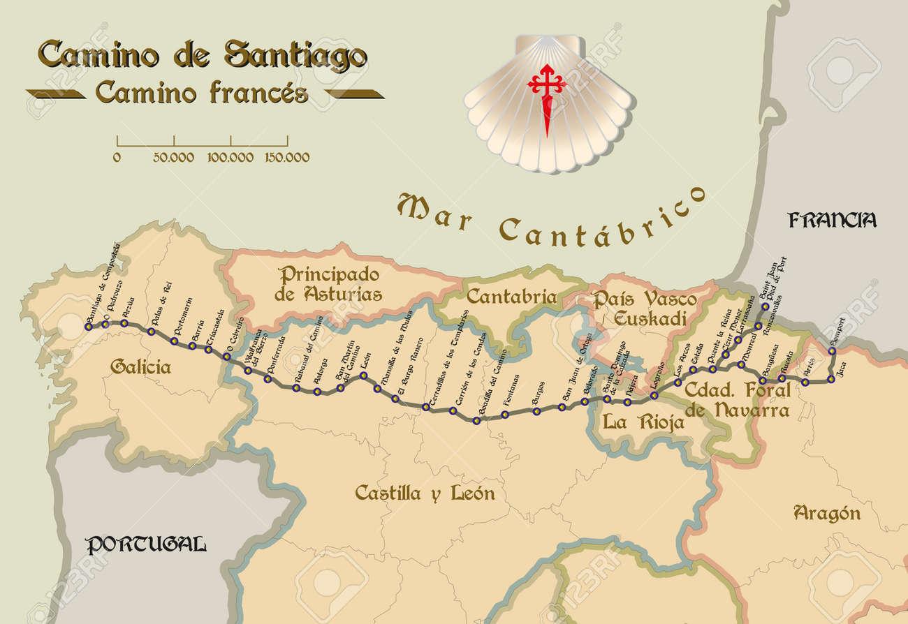 Camino De Santiago Mapa Etapas.Mapa Del Camino De Santiago Con Todas Las Etapas Del Camino Frances Mapa Del Camino De Santiago