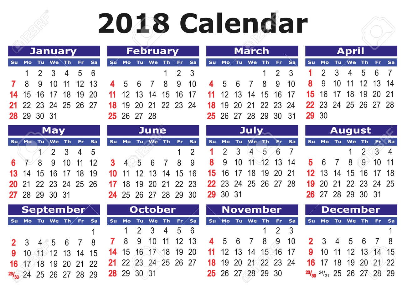 2018 calendar simple vector calendar for year 2018 royalty free