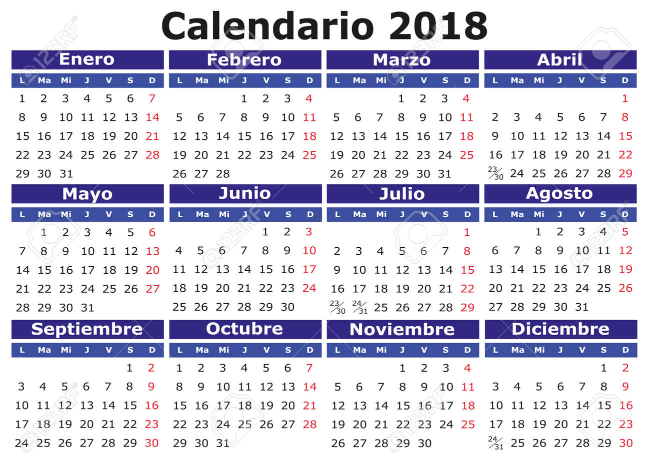 2018 vector calendar in spanish easy for edit and apply calendario 2018 stock vector