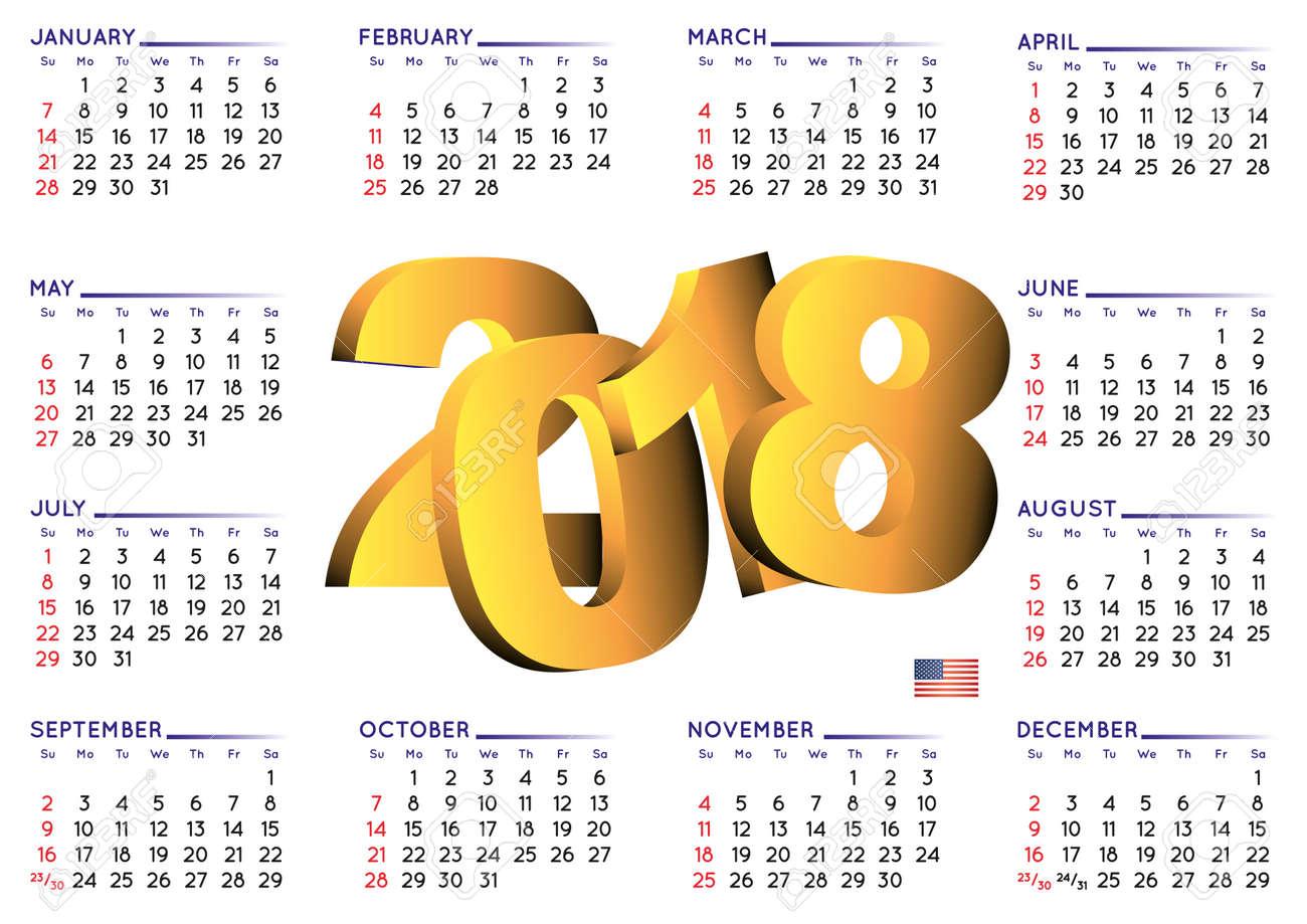 Calendario 2o18.Calendario En Ingles Isken Kaptanband Co