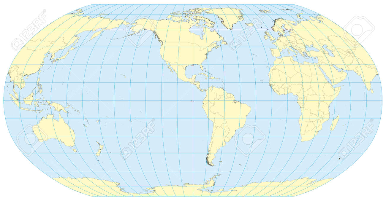 Detailed Map Of The World.Very High Detailed Map Of The World In Robinson Projection With