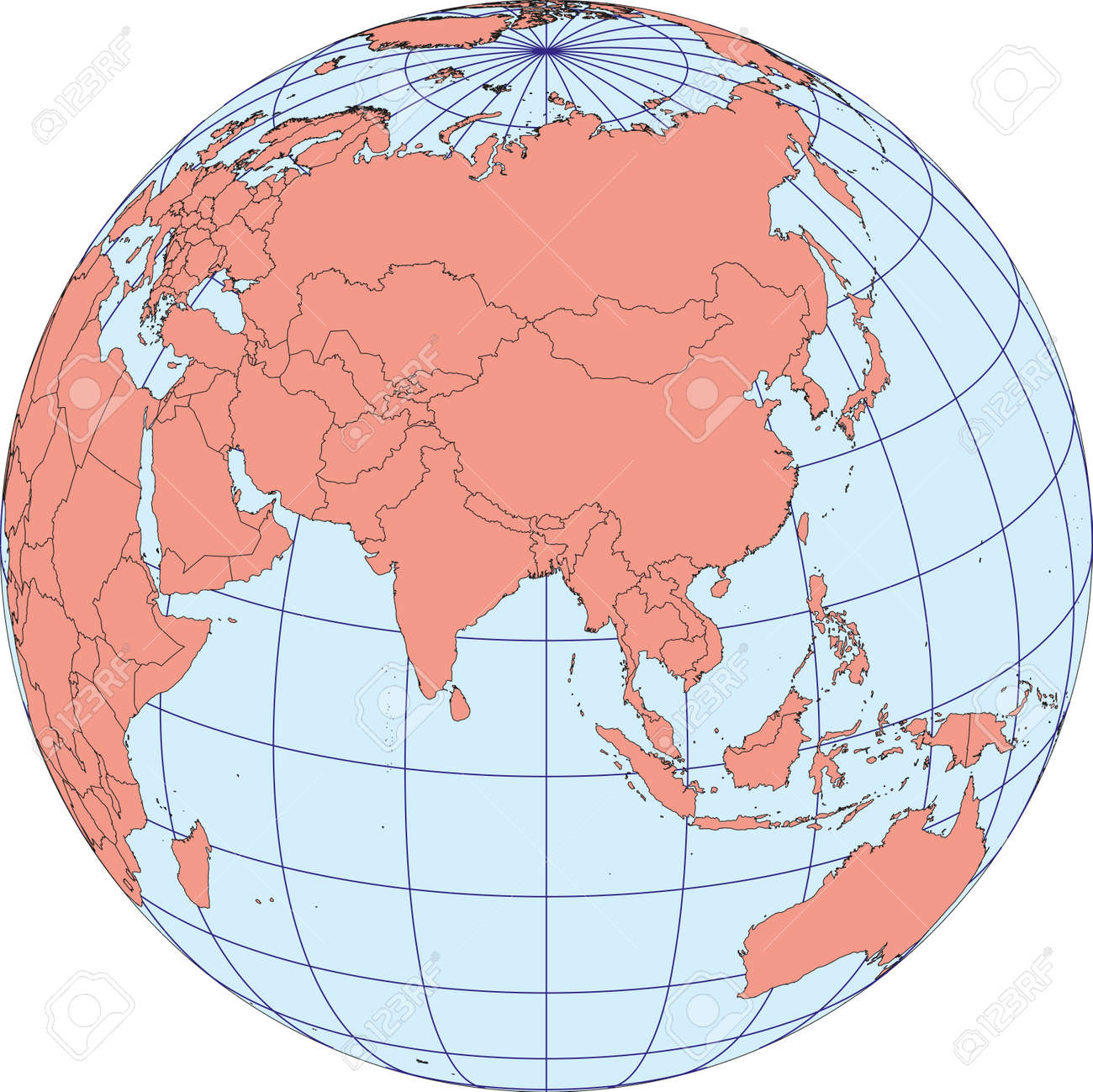 globe map centered on asia ortographic projection with graticule vector map stock vector