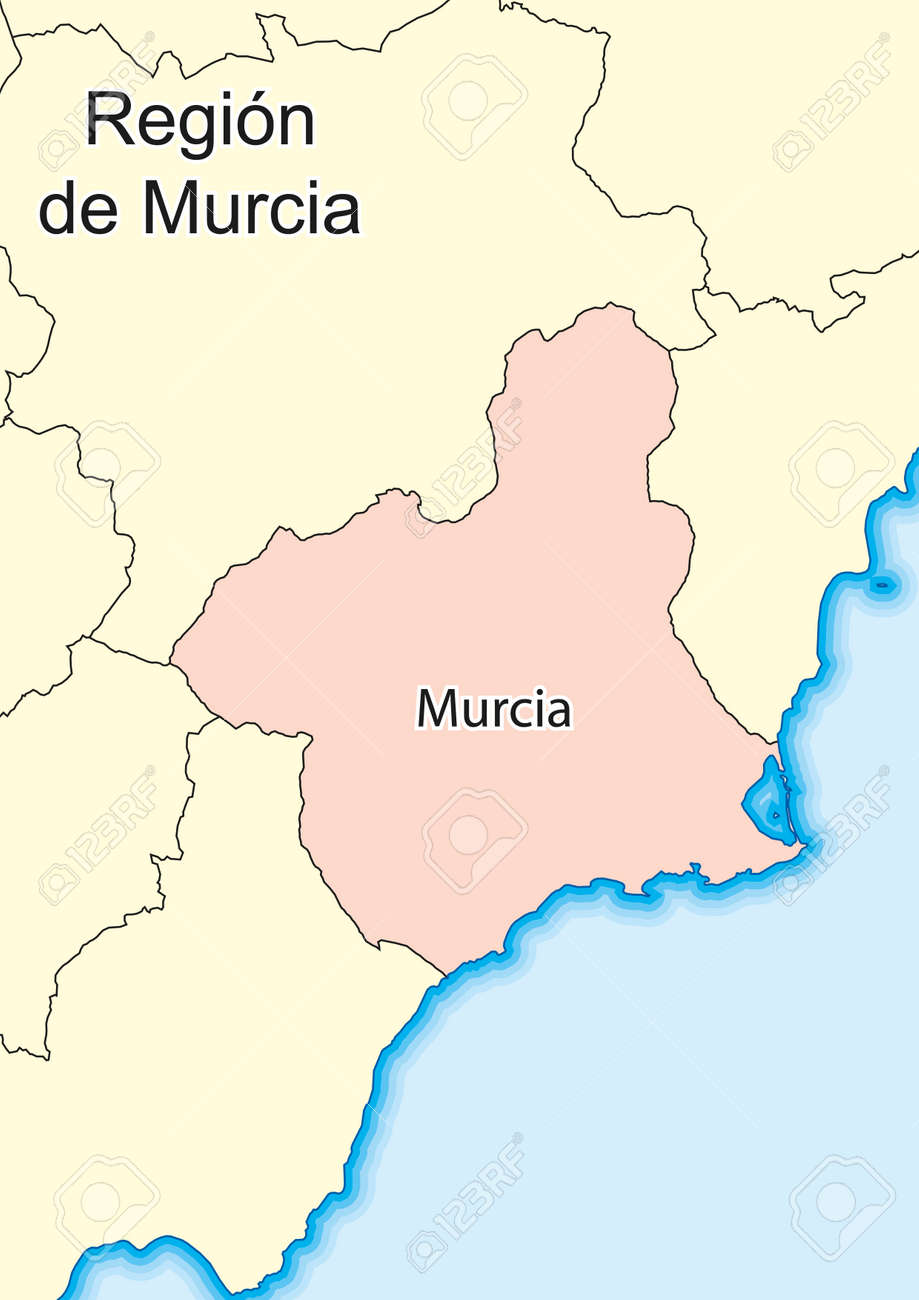 Map Of Spain Murcia.Vector Map Of Region Of Murcia Region De Murcia Spain