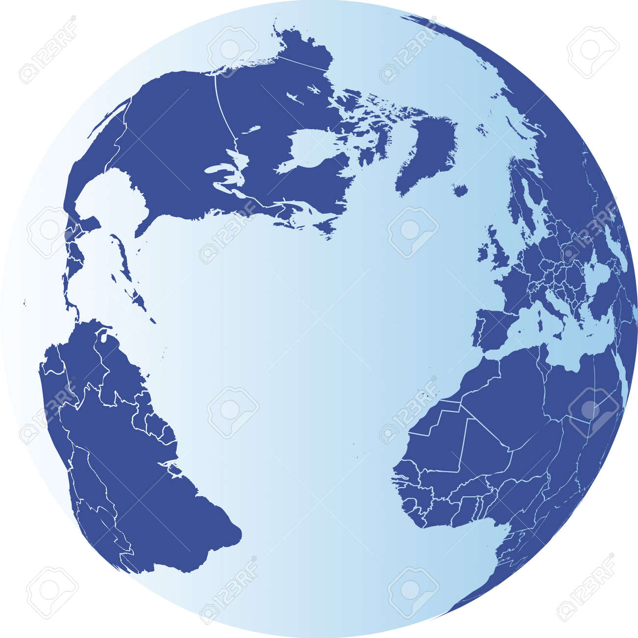 North America, South America, Europe and Africa Globe. Vector.. on map of antarctica globe, map of pacific ocean globe, map of world globe,