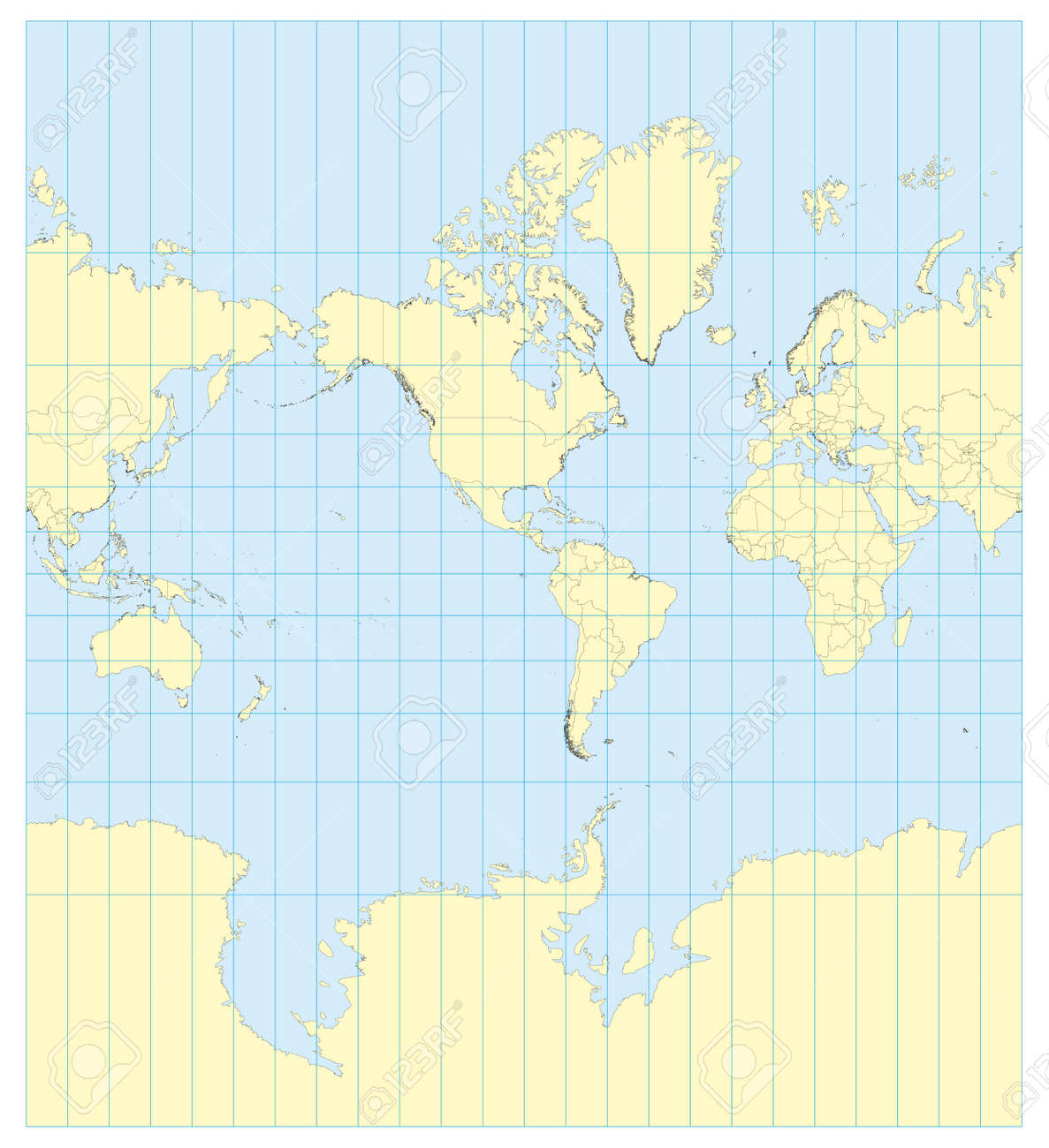 Very High Detailed Map Of The World In Mercator Projection With ...