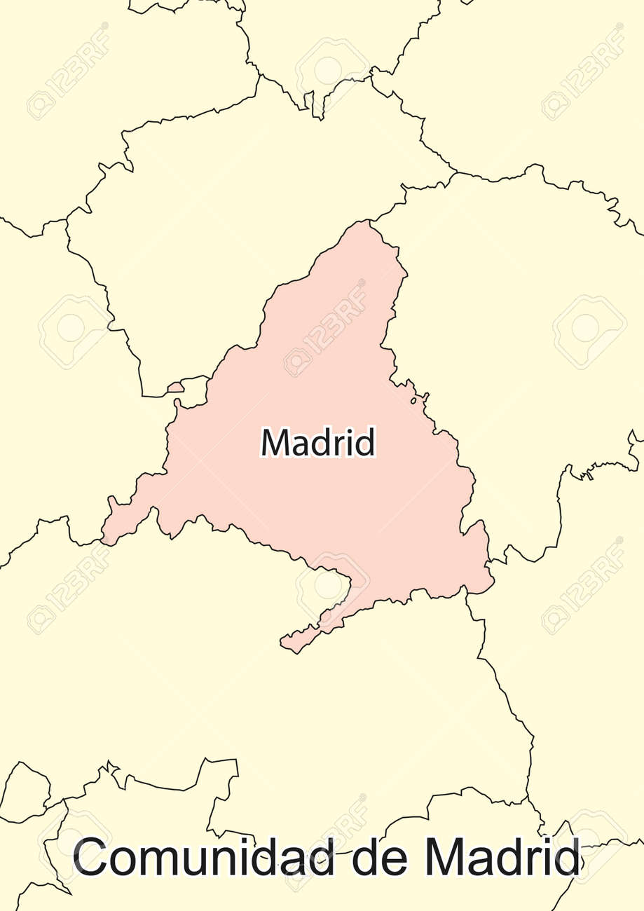 Map Of Spain With Madrid.Vector Map Of The Autonomous Community Of Madrid Spain