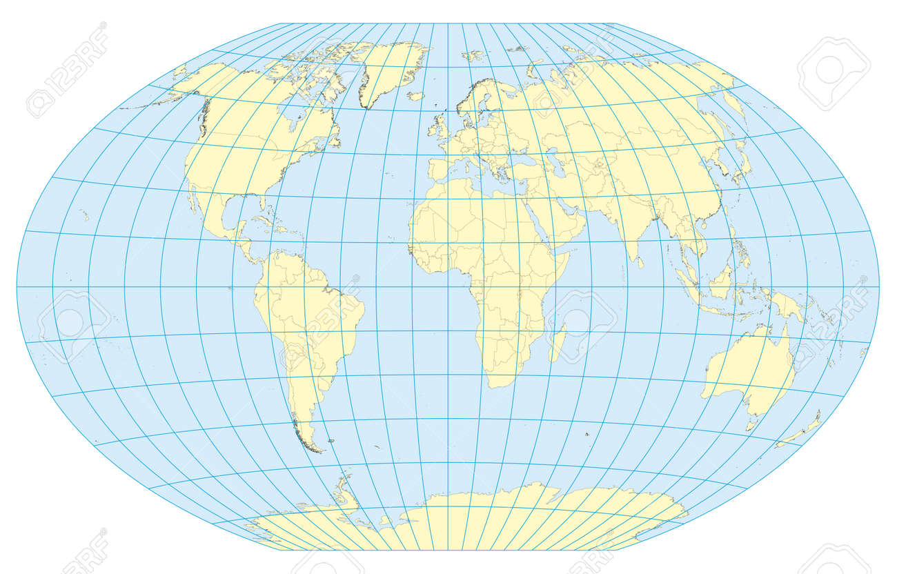 Very High Detailed Map Of The World In Winkel Tripel Projection ...