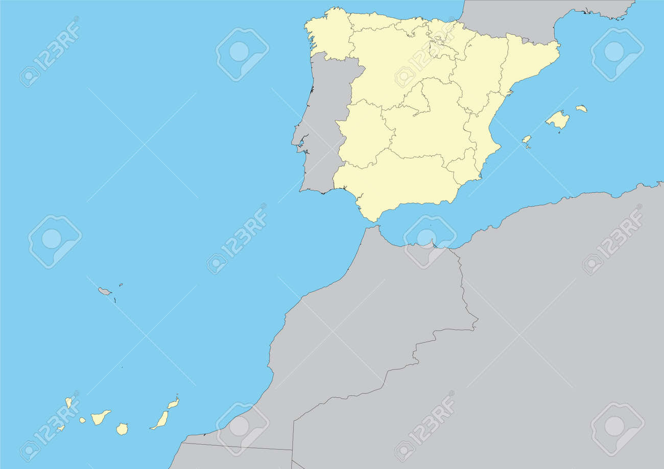 Map Of Spain And Its Islands.Map Of Spain With Their Autonomous Communities And Islands Vector