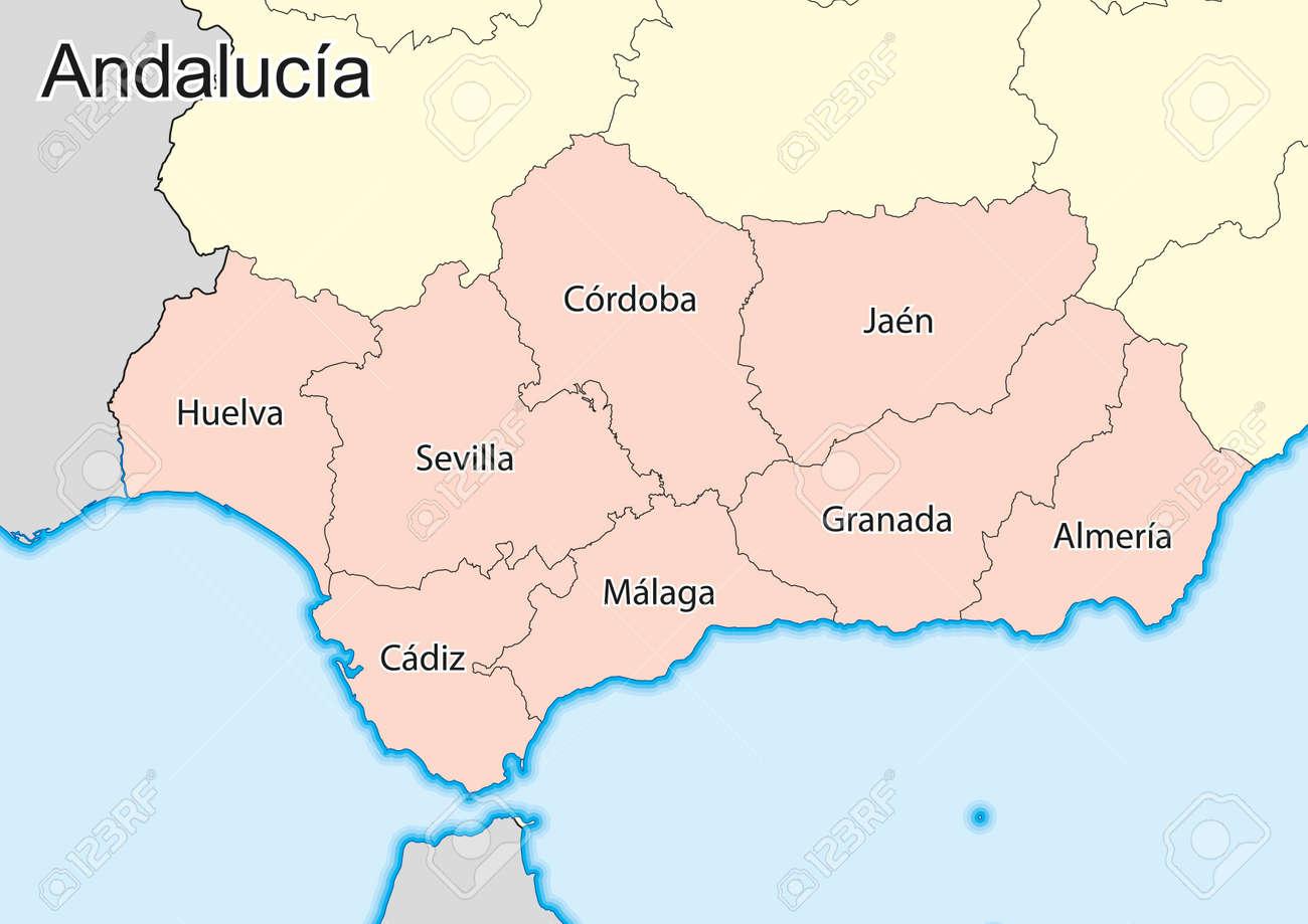 Spagna Andalusia Cartina.Mappa Vettoriale Della Comunita Autonoma Di Andalusia Spagna