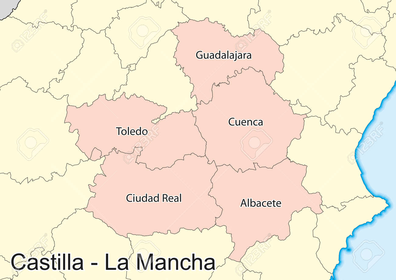 Vector Map Of The Autonomous Community Of Castile La Mancha