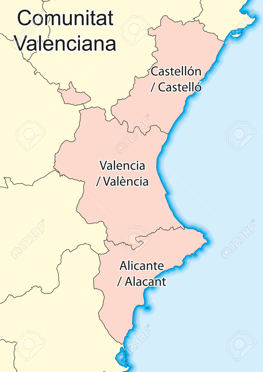 Mapa De Valencia España.Mapa Vectorial De La Comunidad Valenciana Comunitat Valenciana Espana Elementos De Esta Imagen Proporcionados Por La Nasa