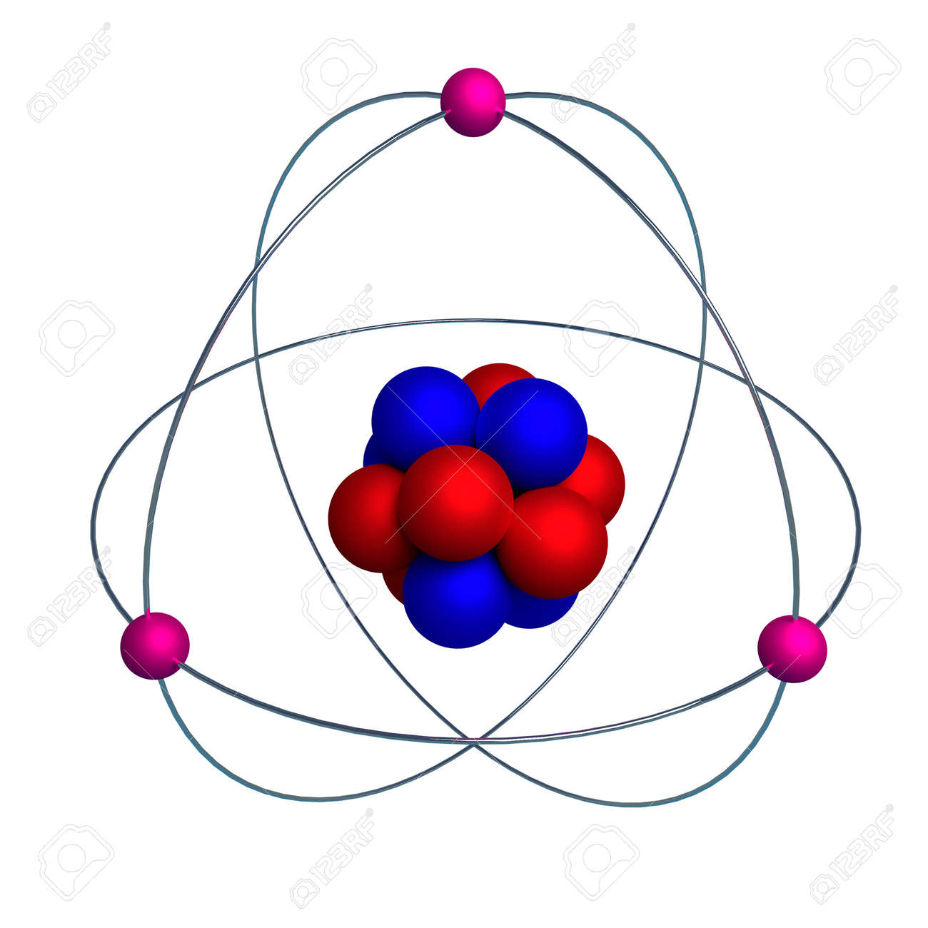 3d model of the nucleus of an atom with protons and neutrons stock