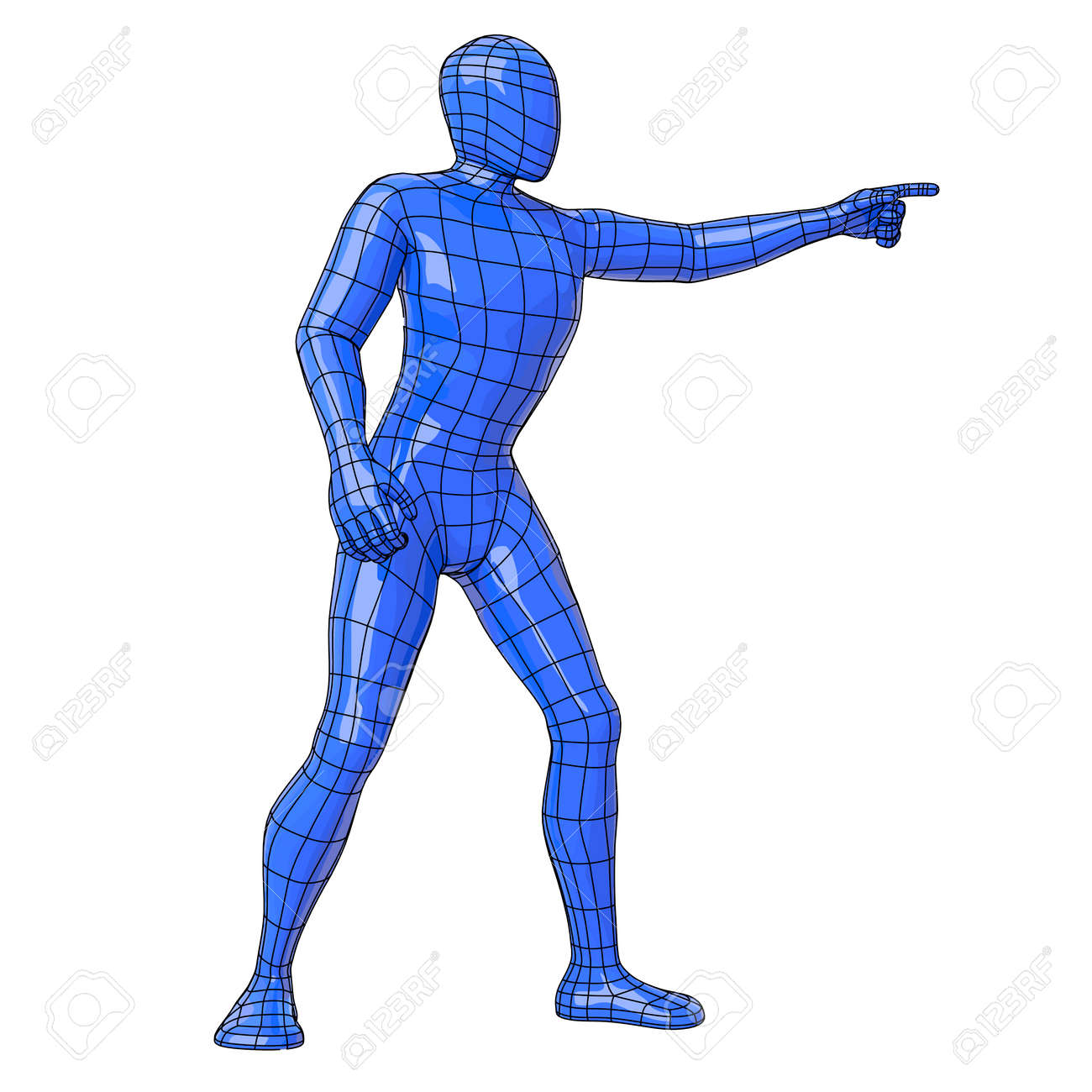 futuristic wireframe human figure pointing with his hand to