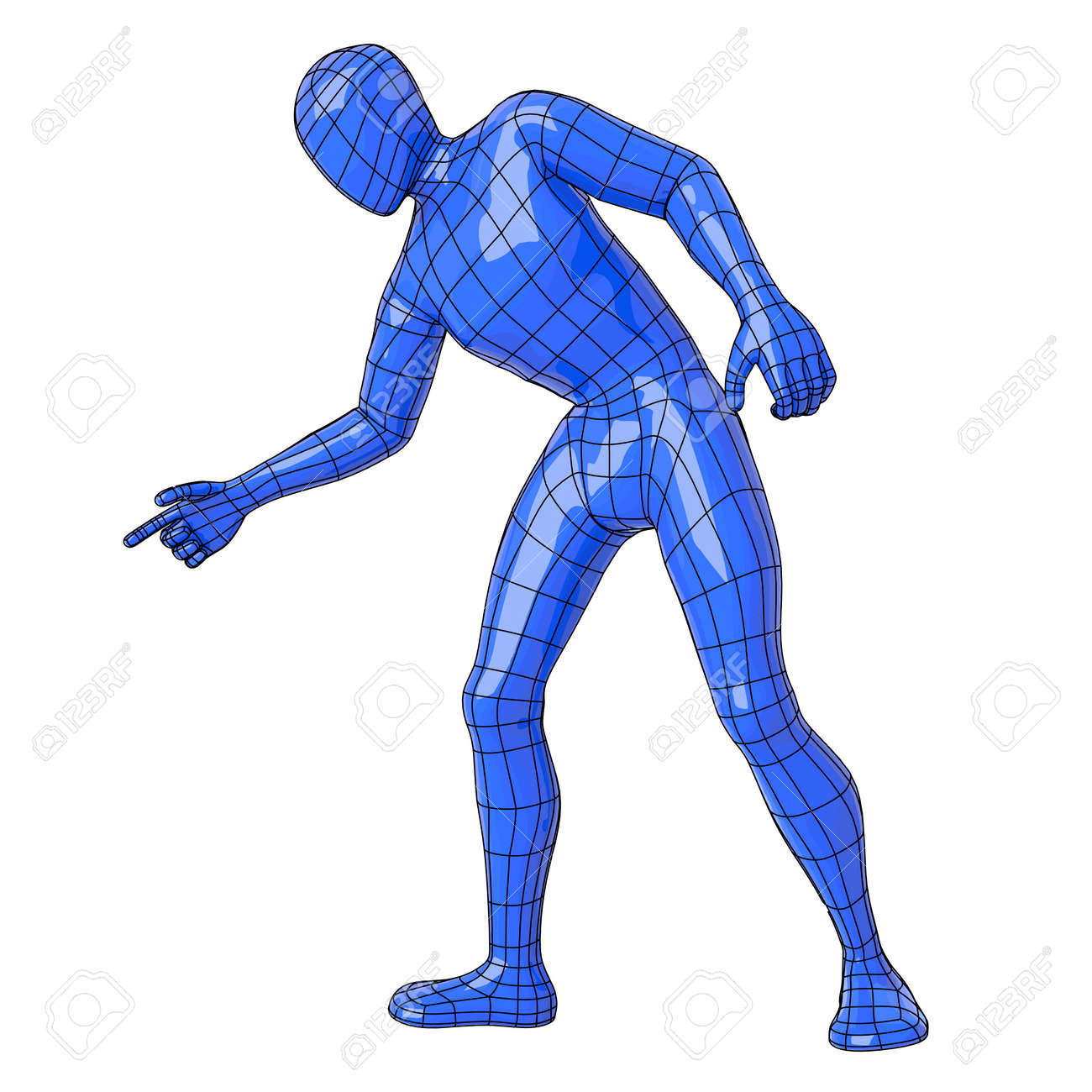 futuristic wireframe human figure pointing down vector illustration