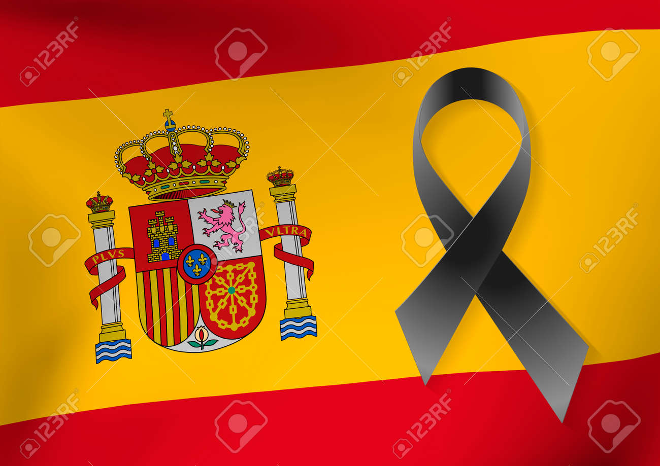 Background Of Spain Flag With A Black Ribbon To Commemorate And Royalty Free Cliparts Vectors And Stock Illustration Image 84356765