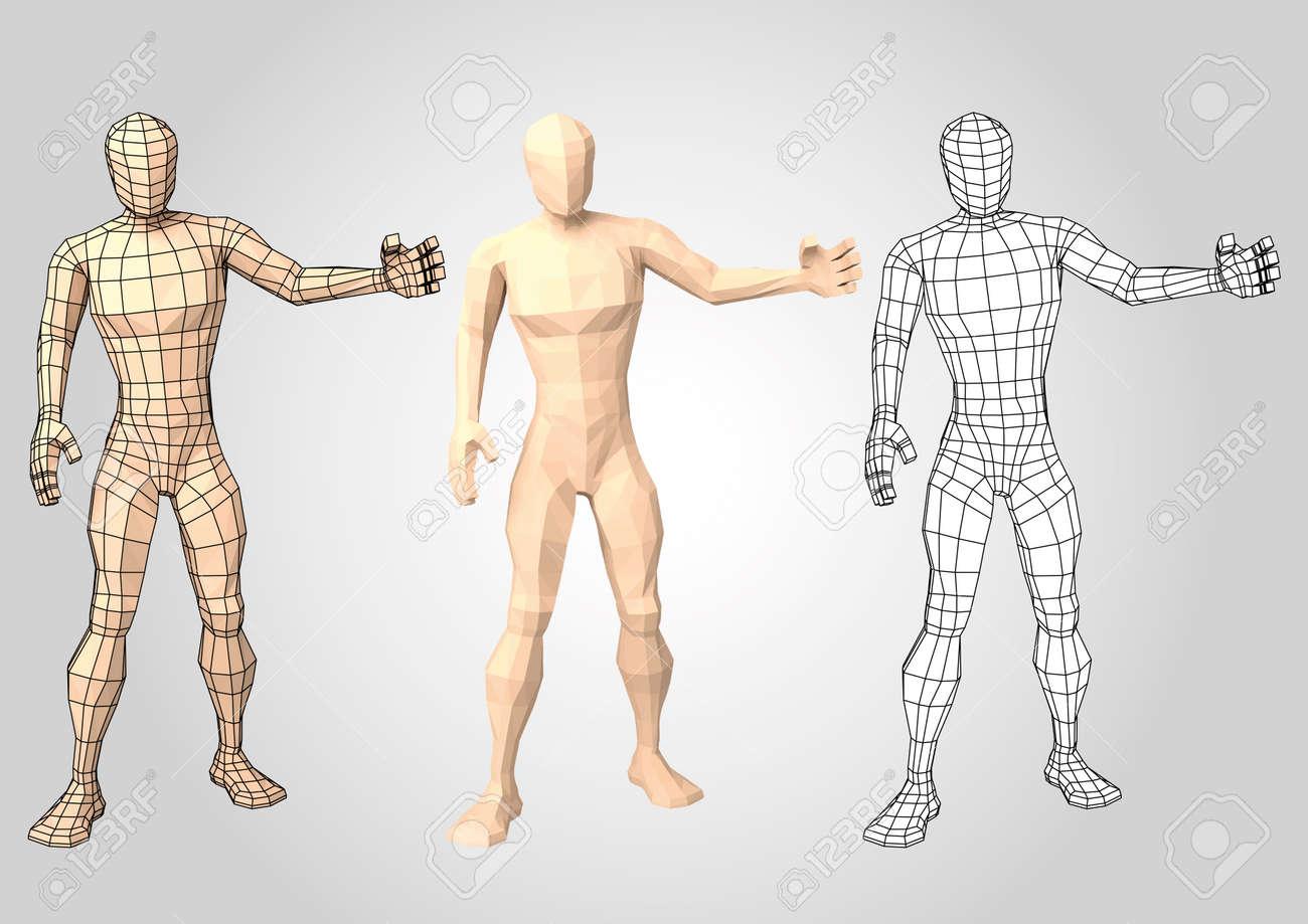 Menschliche Figur, Die Etwas Präsentiert Oder Präsentiert. Wireframe ...