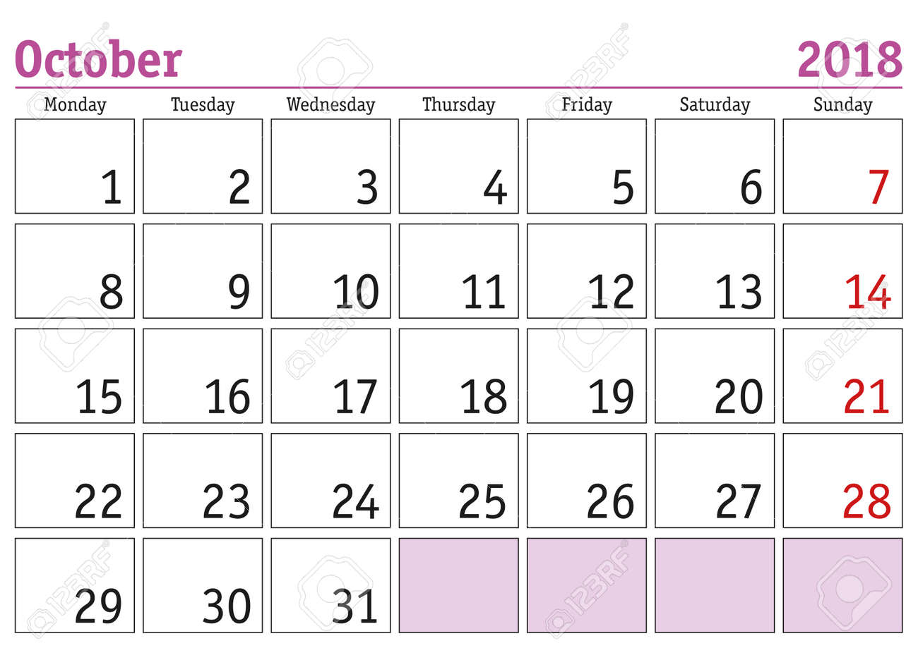 photo about Printable Calendar for October known as Straightforward electronic calendar for oct 2018. Vector printable calendar