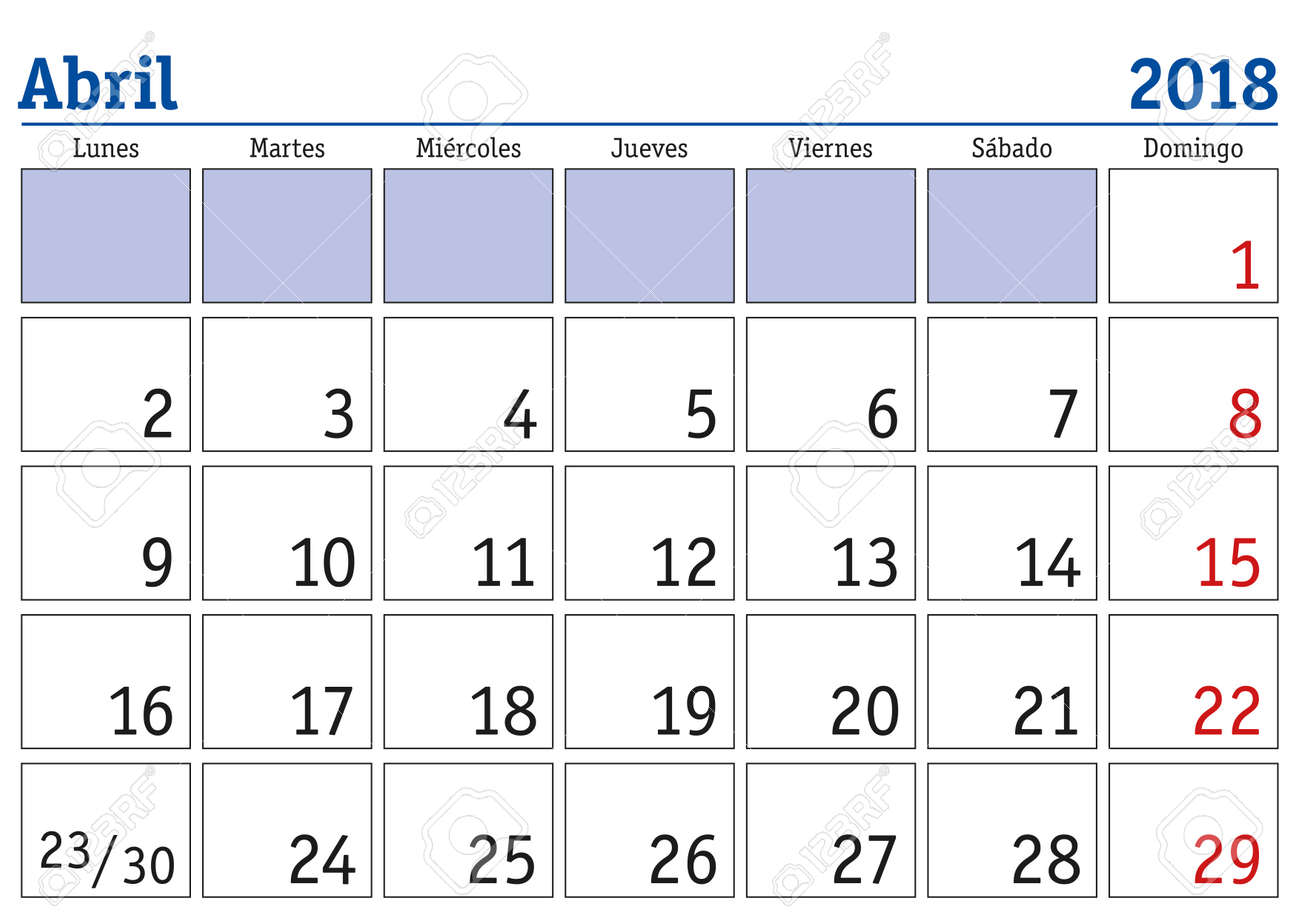Calendar April 2018.April Month In A Year 2018 Wall Calendar In Spanish Abril 2018