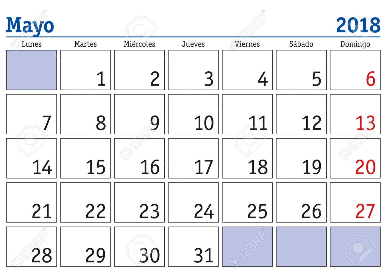 may month in a year 2018 wall calendar in spanish mayo 2018 calendario 2018